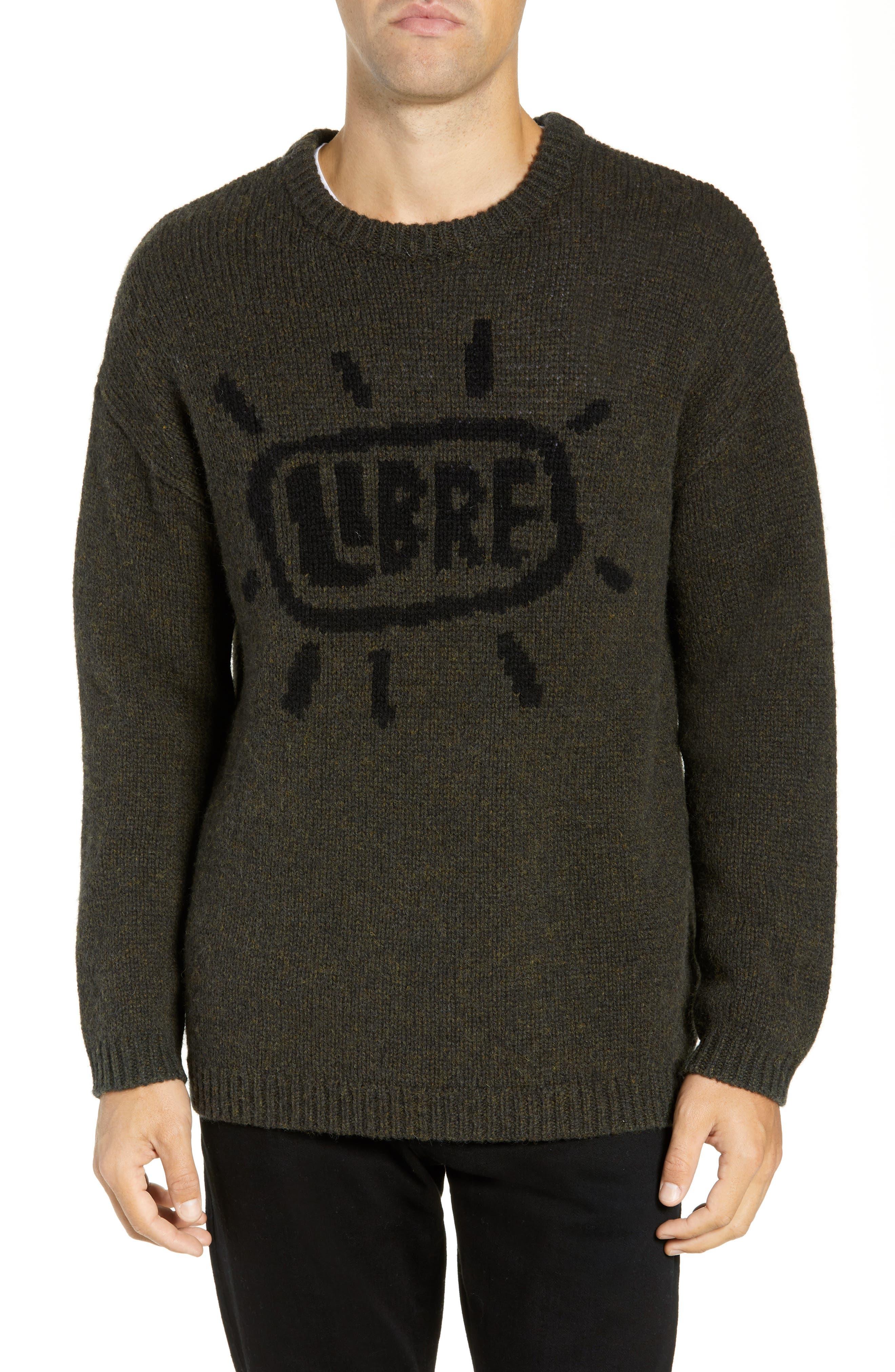 Free Regular Fit Shetland Wool Sweater,                             Main thumbnail 1, color,                             MIDNIGHT MOSS BLACK
