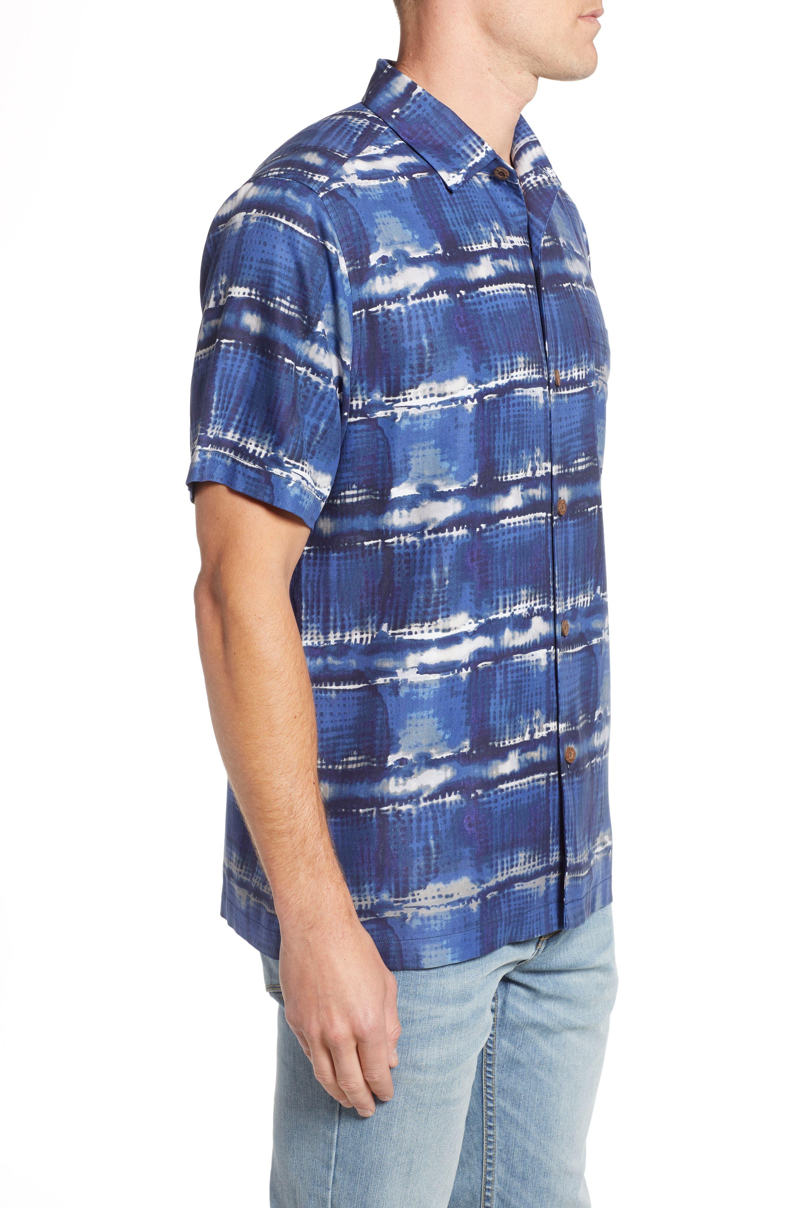 Tie Dye For Silk Camp Shirt,                             Alternate thumbnail 3, color,                             BLUE JEAN
