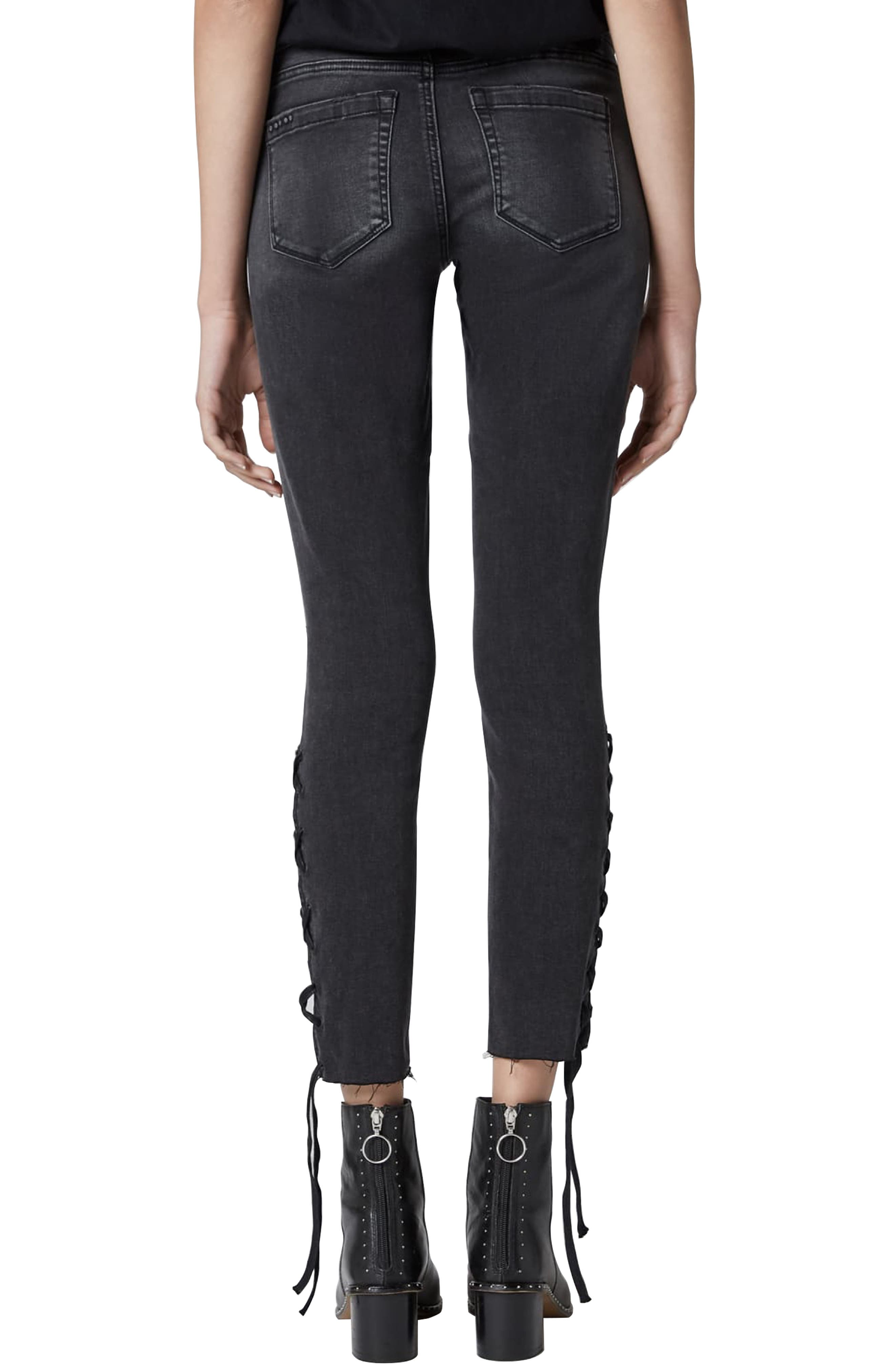 The Reade Lace Up Hem Crop Skinny Jeans,                             Alternate thumbnail 2, color,                             ANTIDOTE