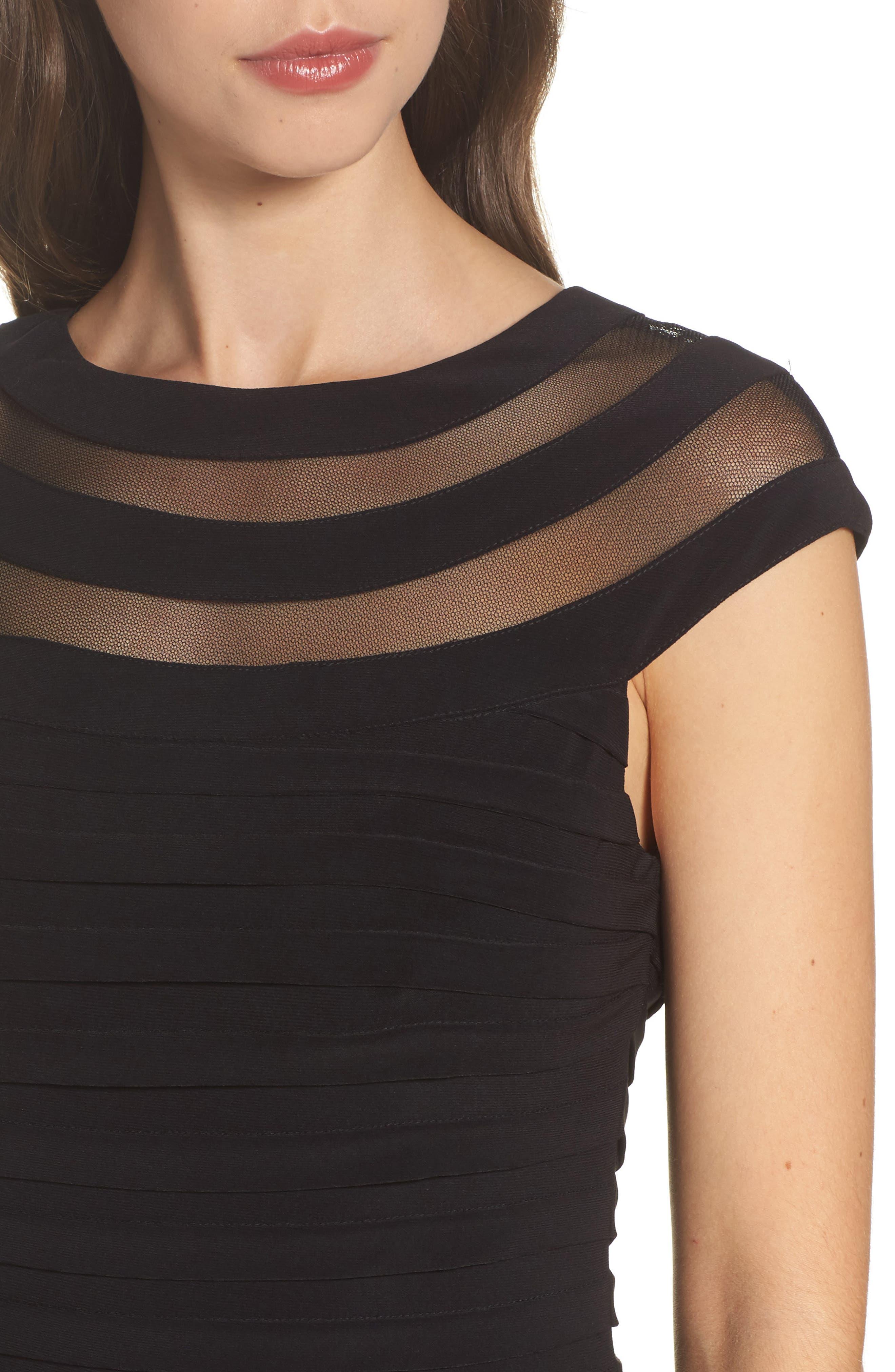 Banded Jersey Sheath Dress,                             Alternate thumbnail 4, color,                             002