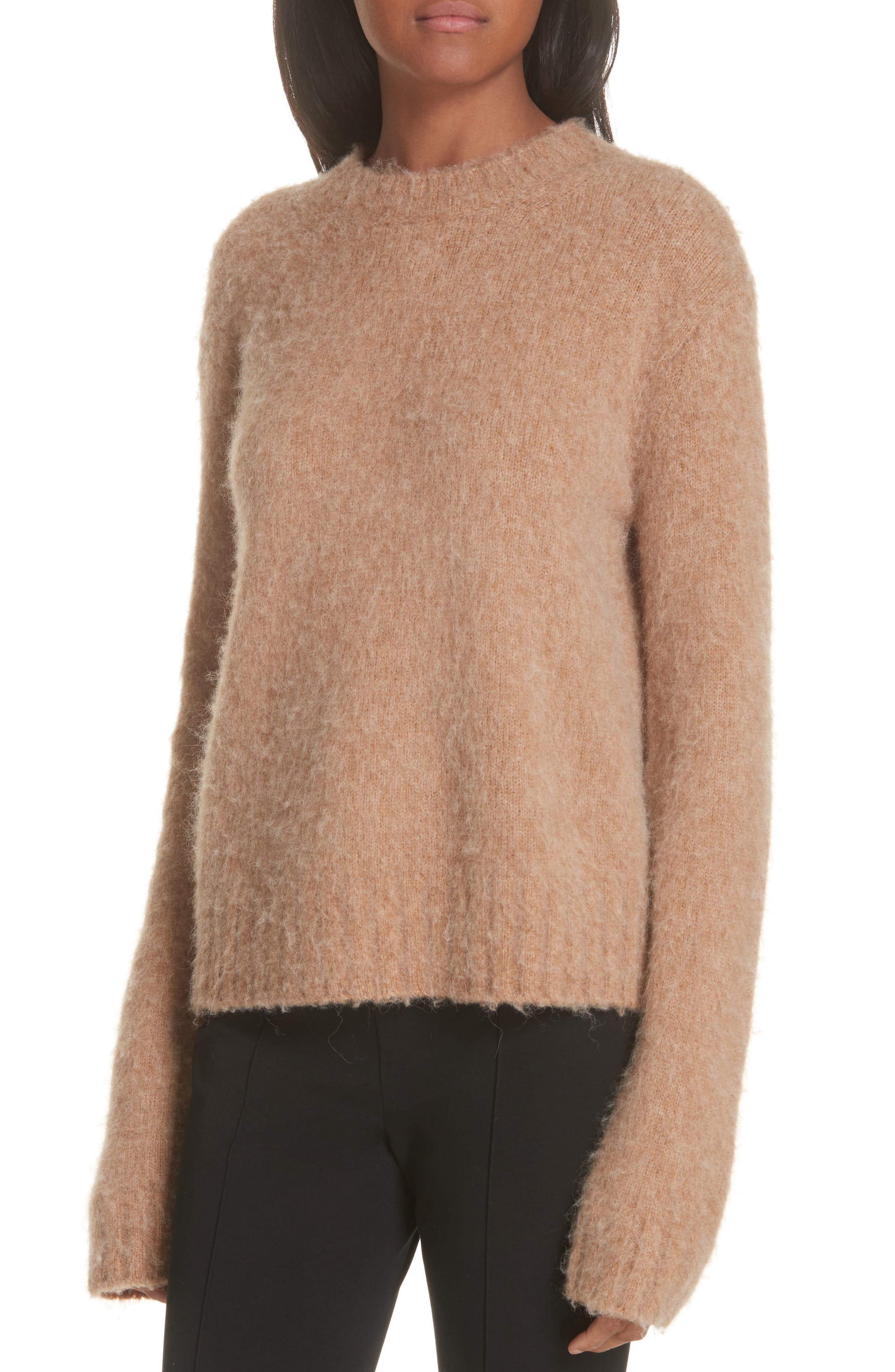 Brushed Wool & Alpaca Blend Sweater,                             Alternate thumbnail 4, color,                             BAND