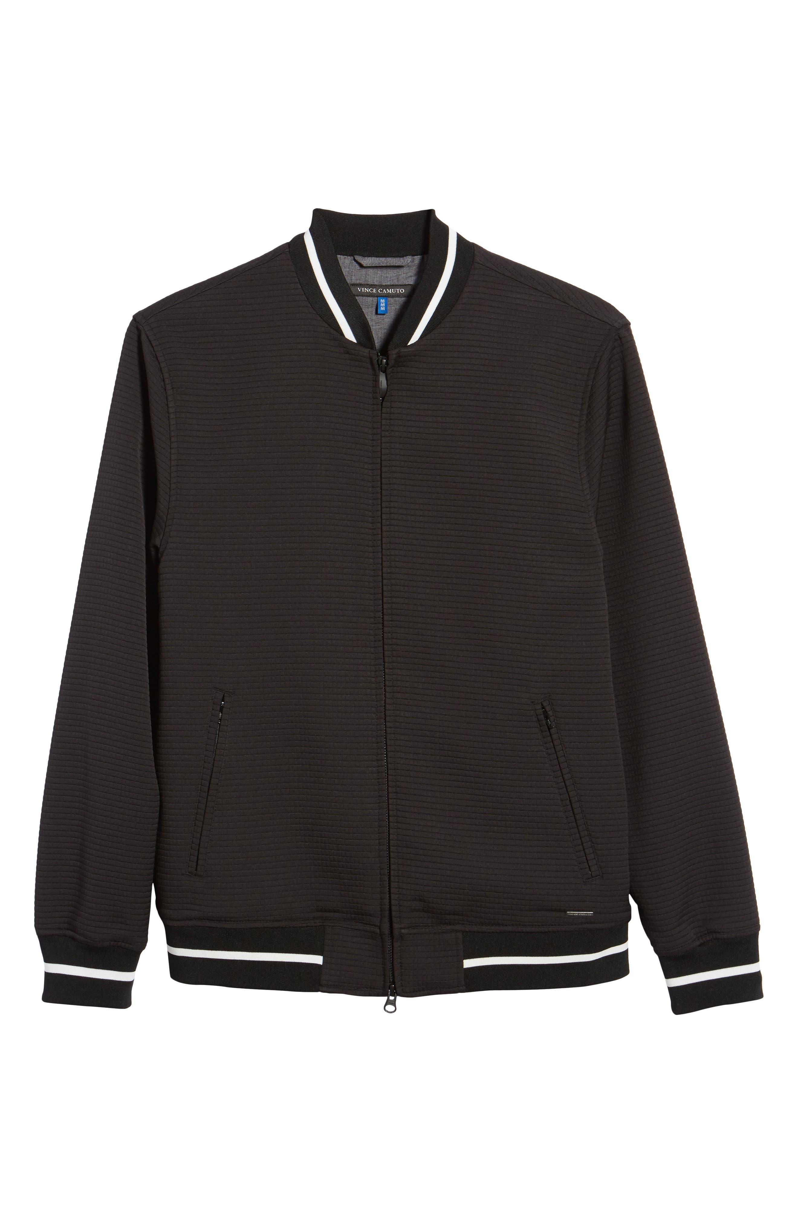 Slim Fit Bomber Jacket,                             Alternate thumbnail 5, color,                             BLACK SOLID