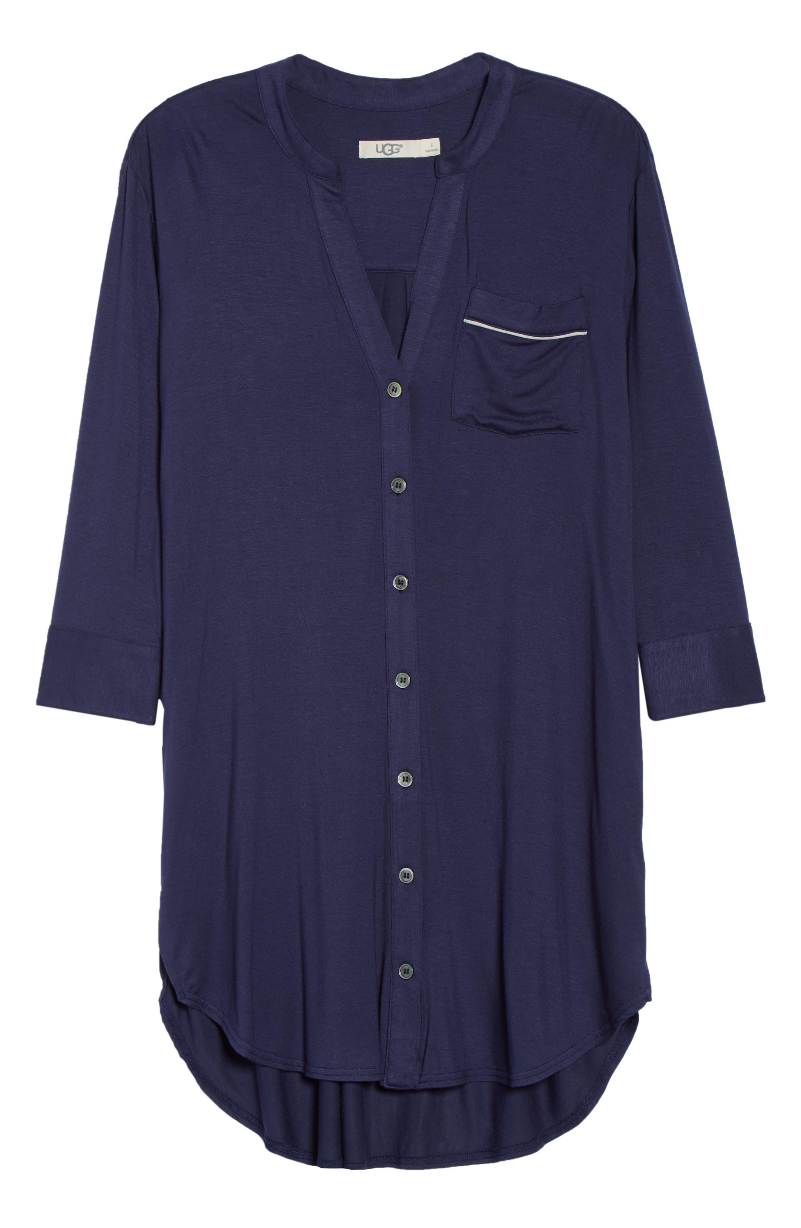 Vivian Sleep Shirt,                             Alternate thumbnail 6, color,                             NAVY
