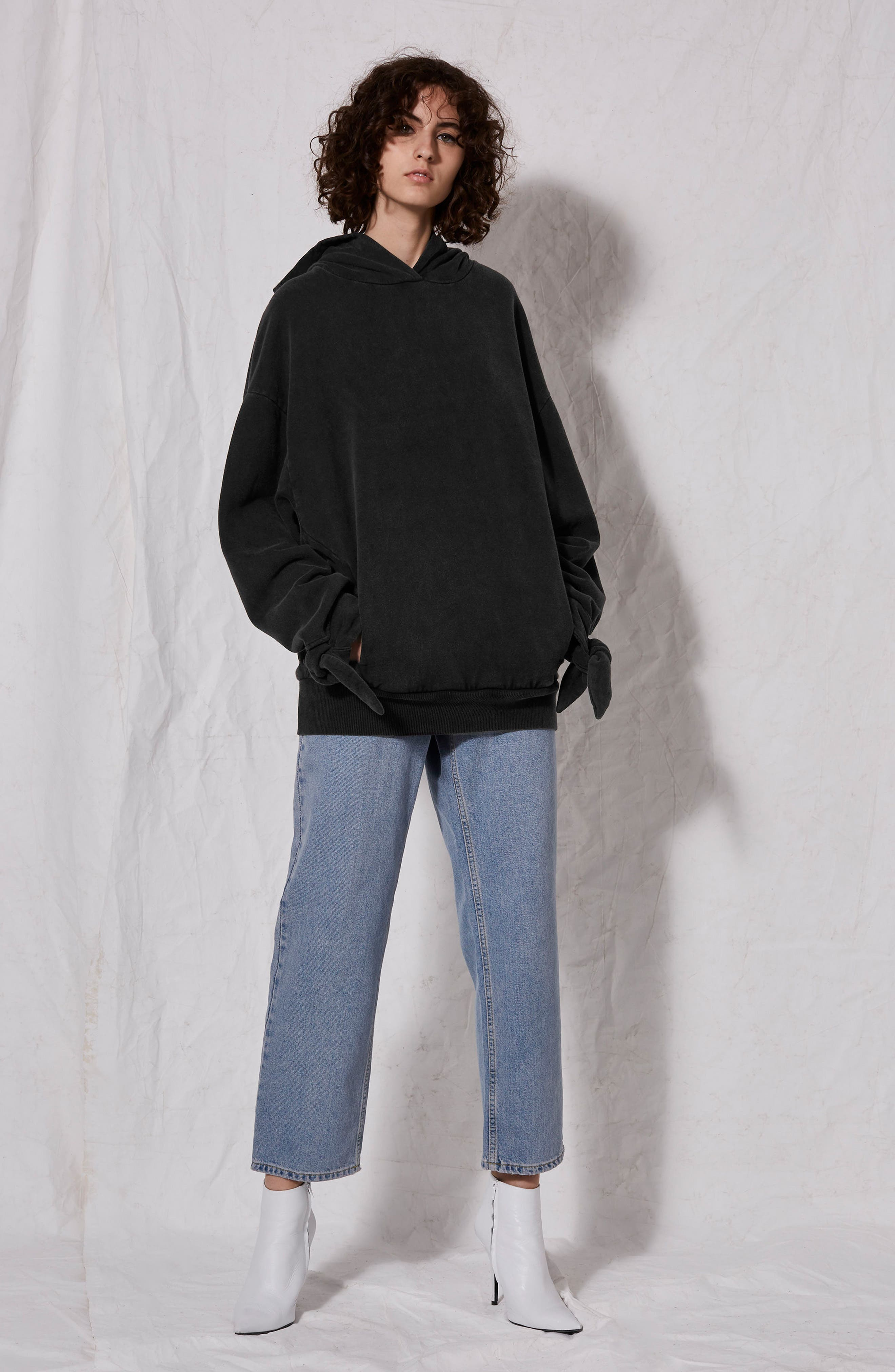 Tie Sleeve Hoodie,                             Alternate thumbnail 4, color,                             003