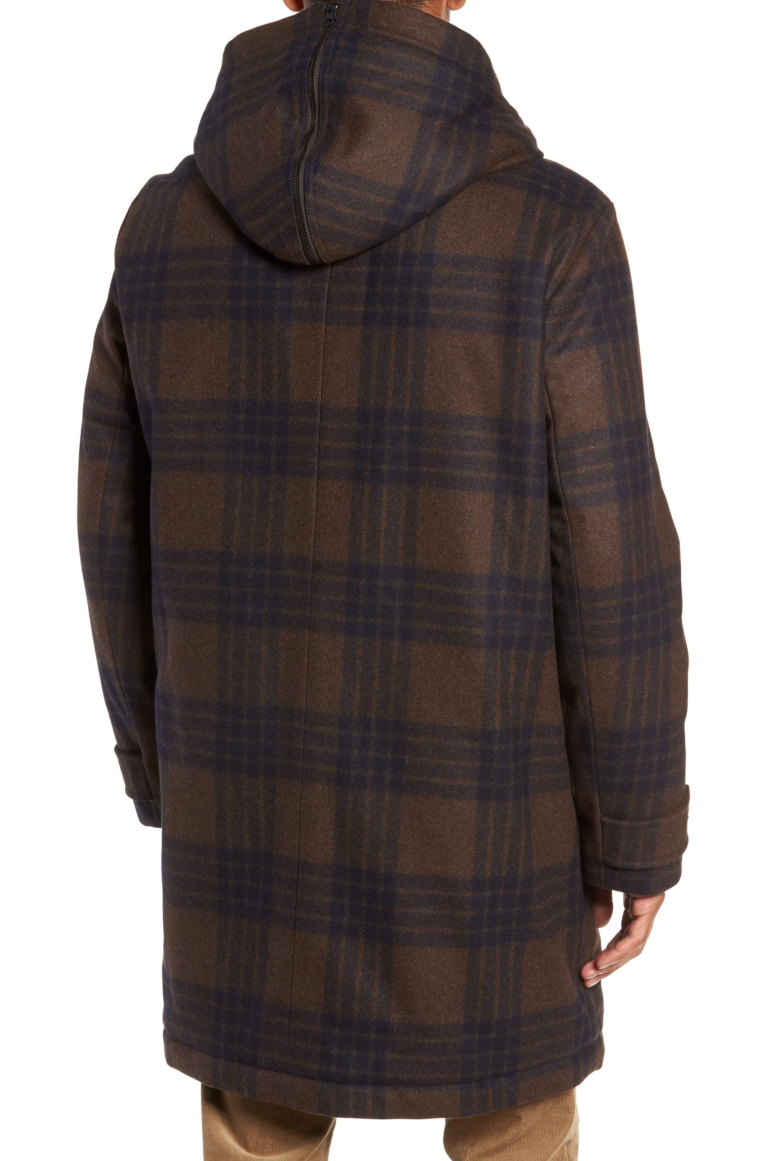 Plaid Duffle Coat with Faux Shearling Trim,                             Alternate thumbnail 2, color,                             H. REDWOOD