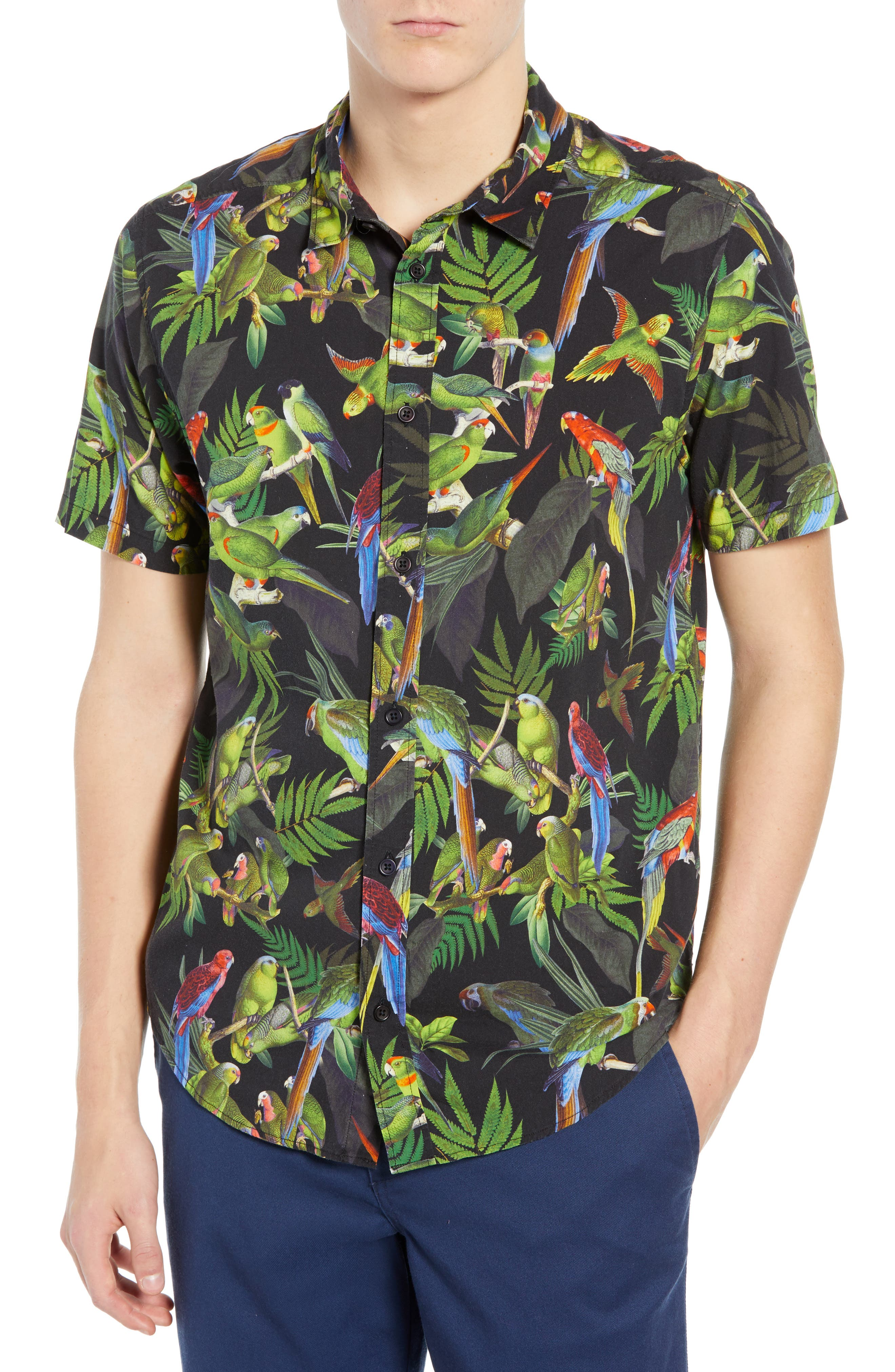 Squawker Woven Shirt,                             Main thumbnail 1, color,                             BLACK