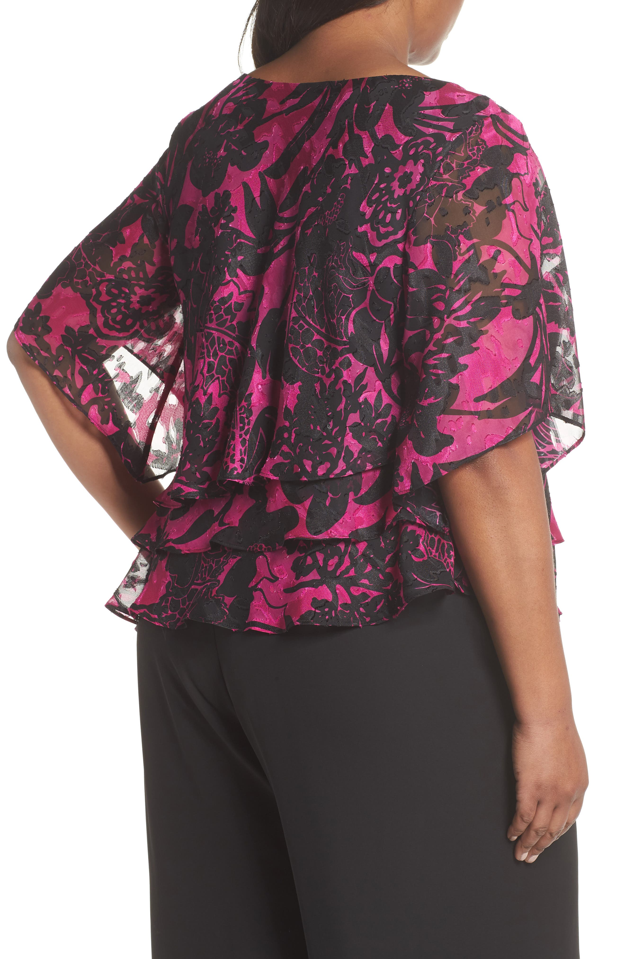 Print Tiered Blouse,                             Alternate thumbnail 3, color,