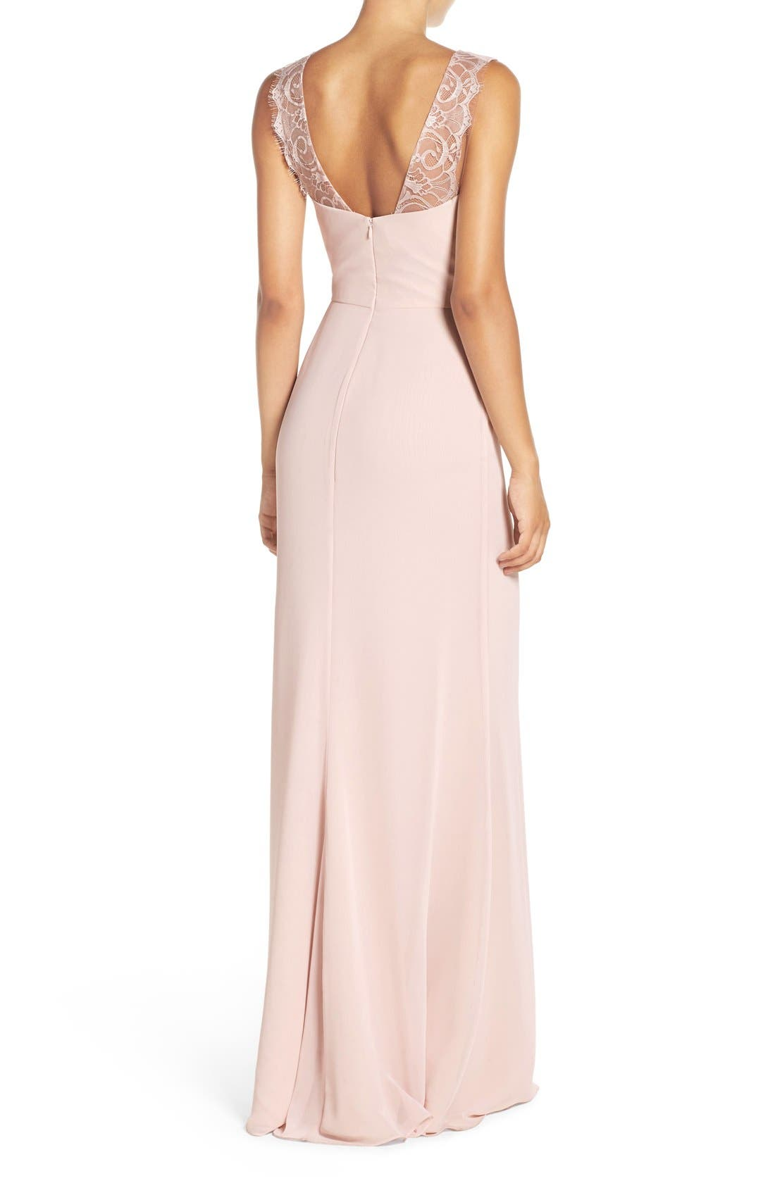 Lace Strap Gathered Chiffon Gown,                             Alternate thumbnail 7, color,
