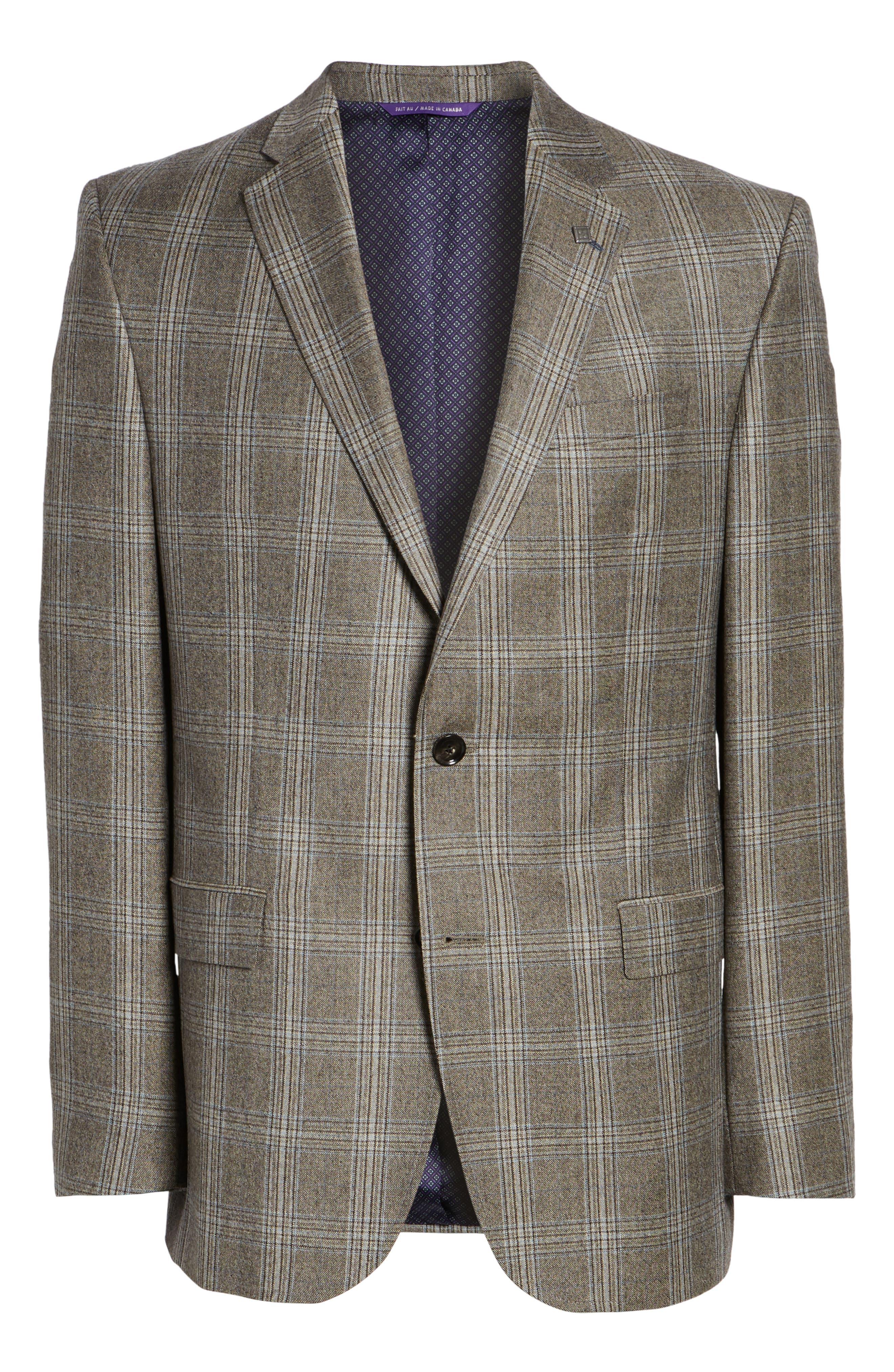 Jay Trim Fit Plaid Wool Sport Coat,                             Alternate thumbnail 5, color,                             230