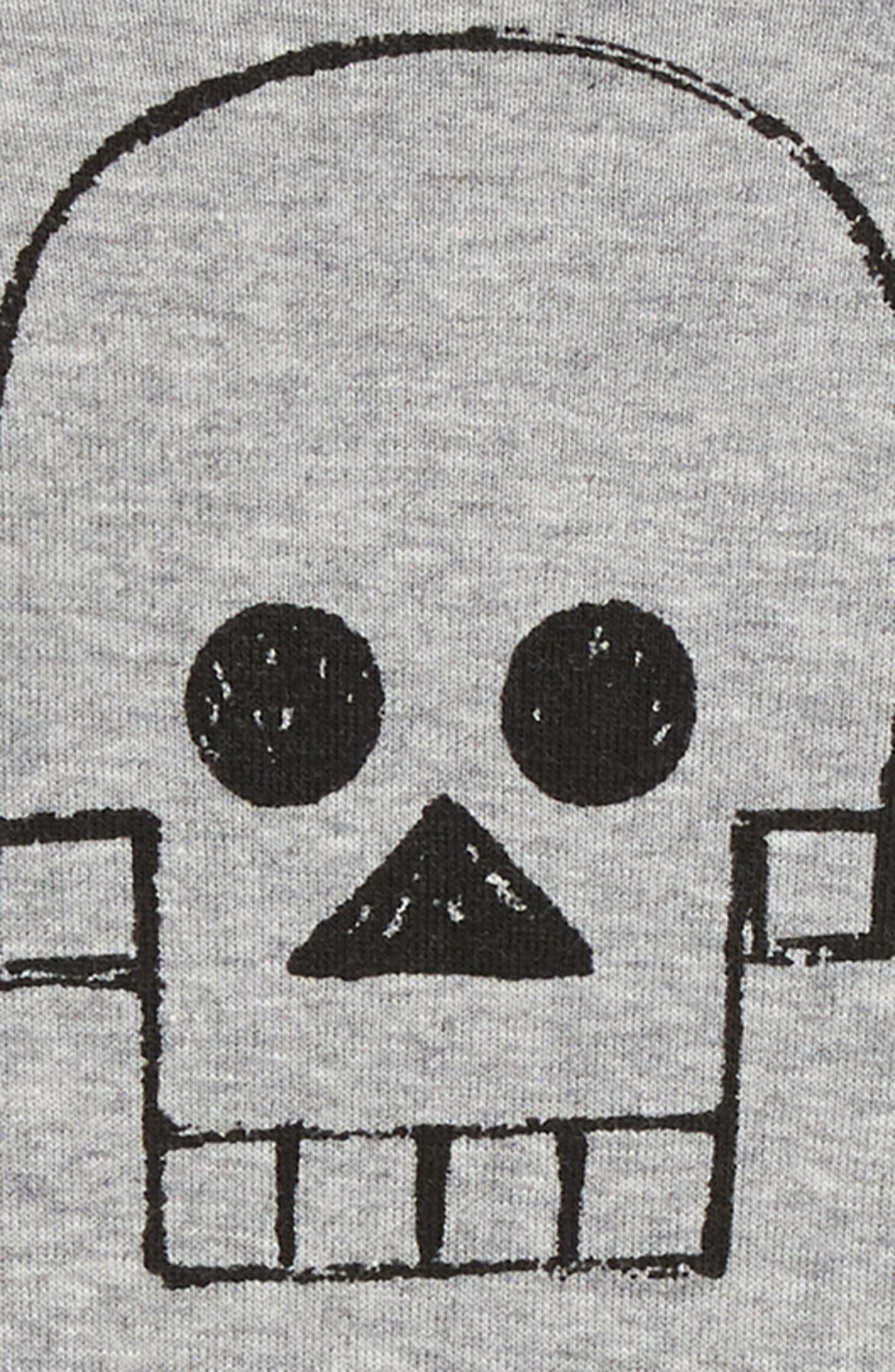 Skull Robot Romper,                             Alternate thumbnail 2, color,                             HEATHER GREY