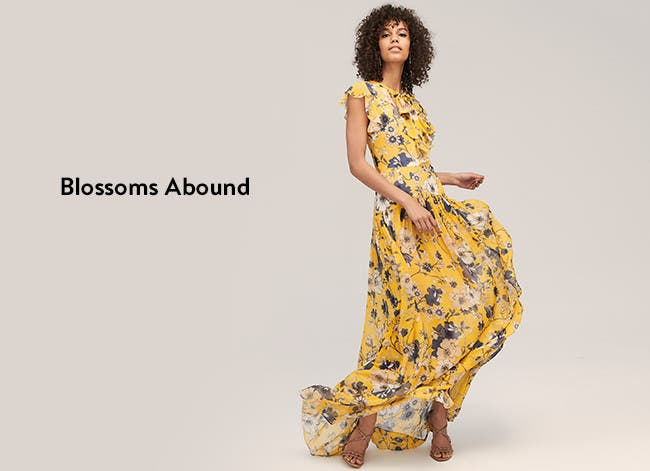 Blossoms abound: women's dresses.