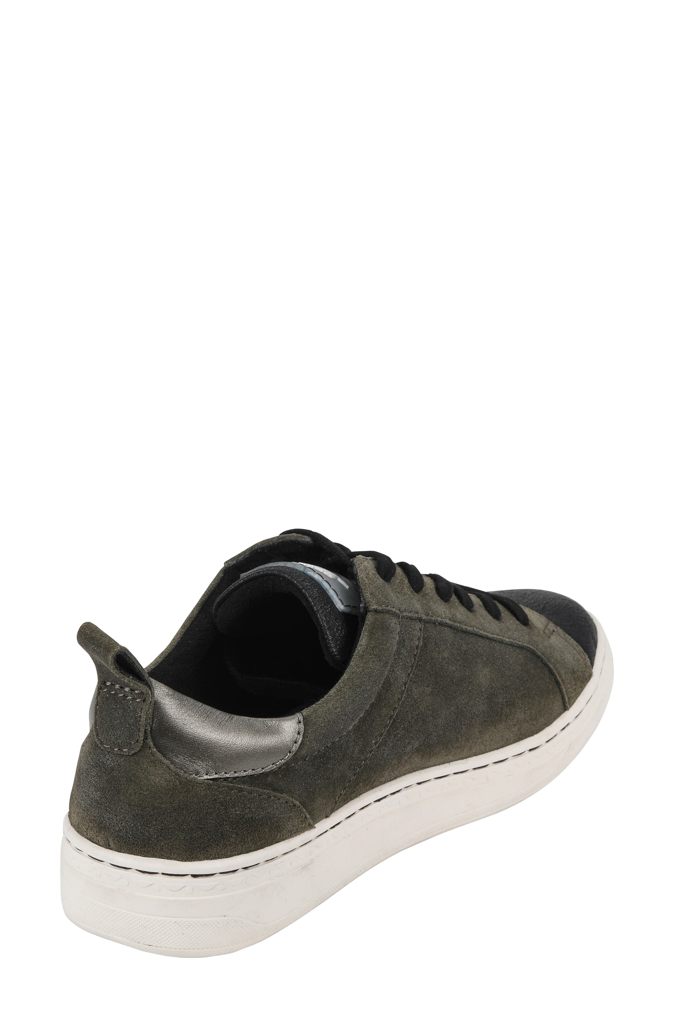 Zinnia Low Top Sneaker,                             Alternate thumbnail 2, color,                             BLACK METALLIC FAUX LEATHER