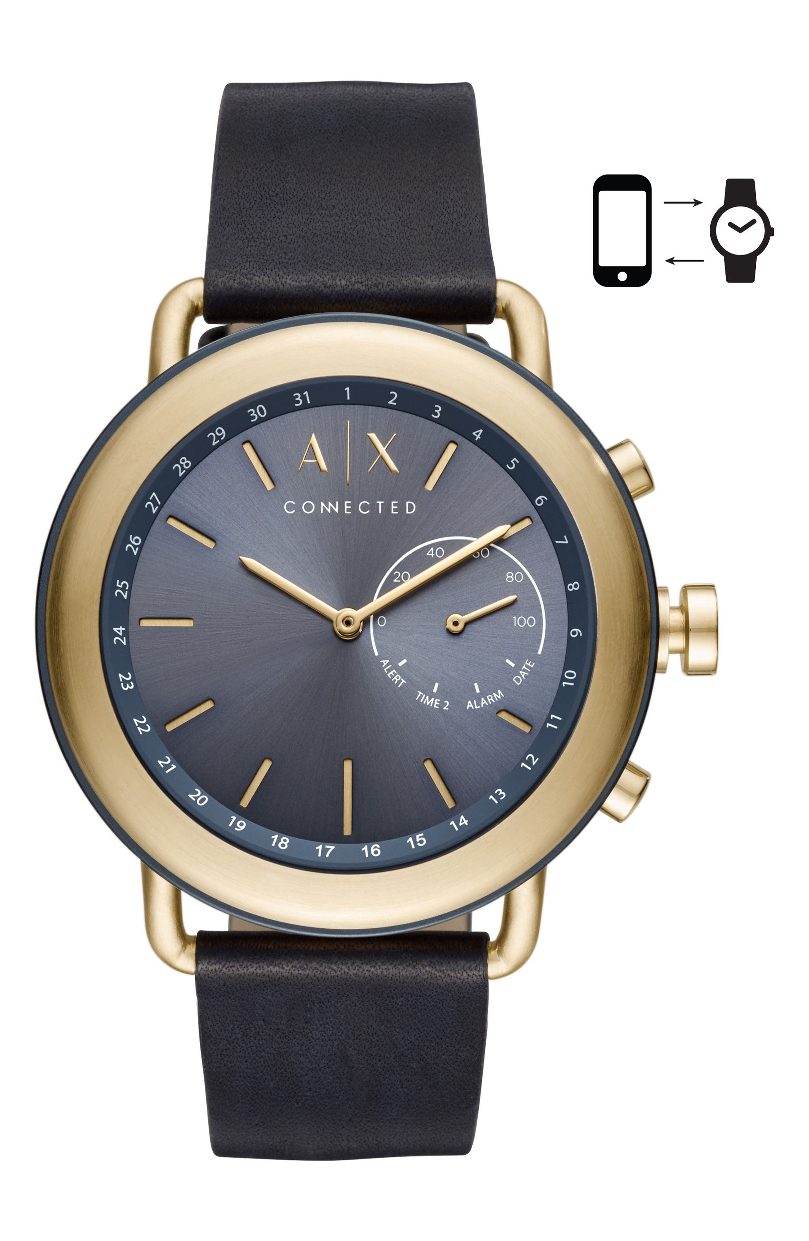 Connected Hybrid Leather Strap Smartwatch, 47mm,                         Main,                         color, GOLD/ BLACK