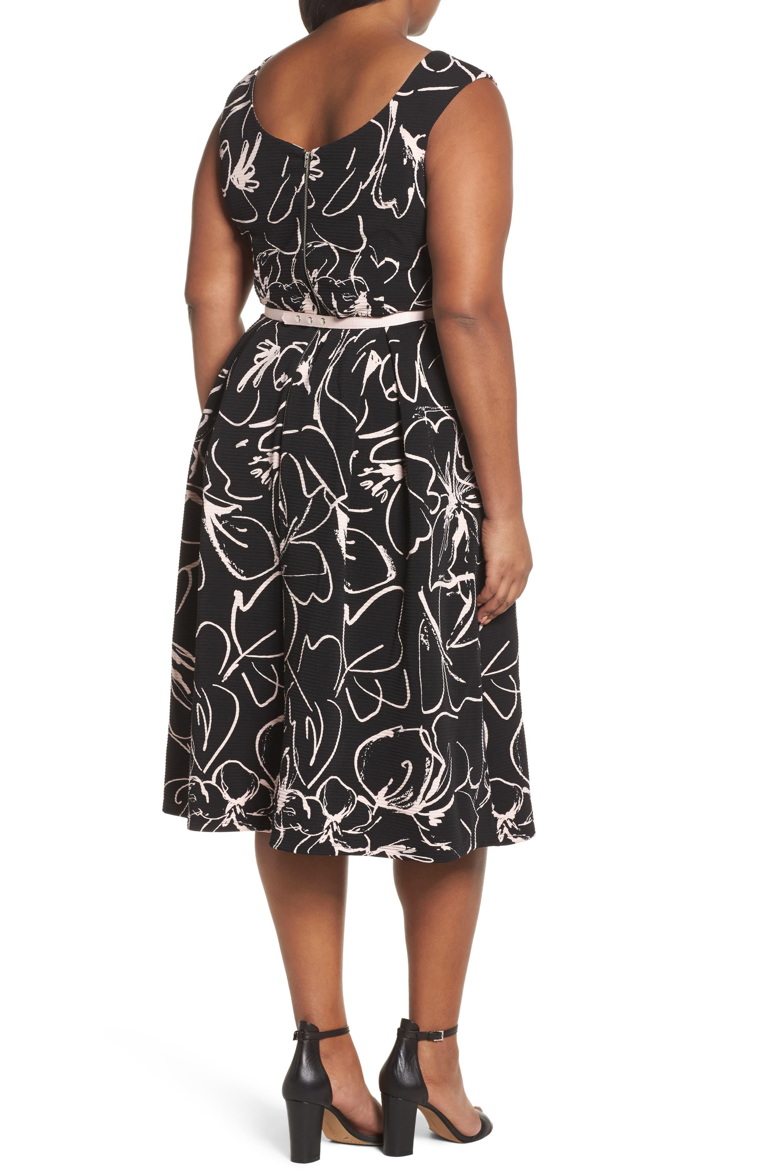 Print Fit & Flare Dress,                             Alternate thumbnail 3, color,
