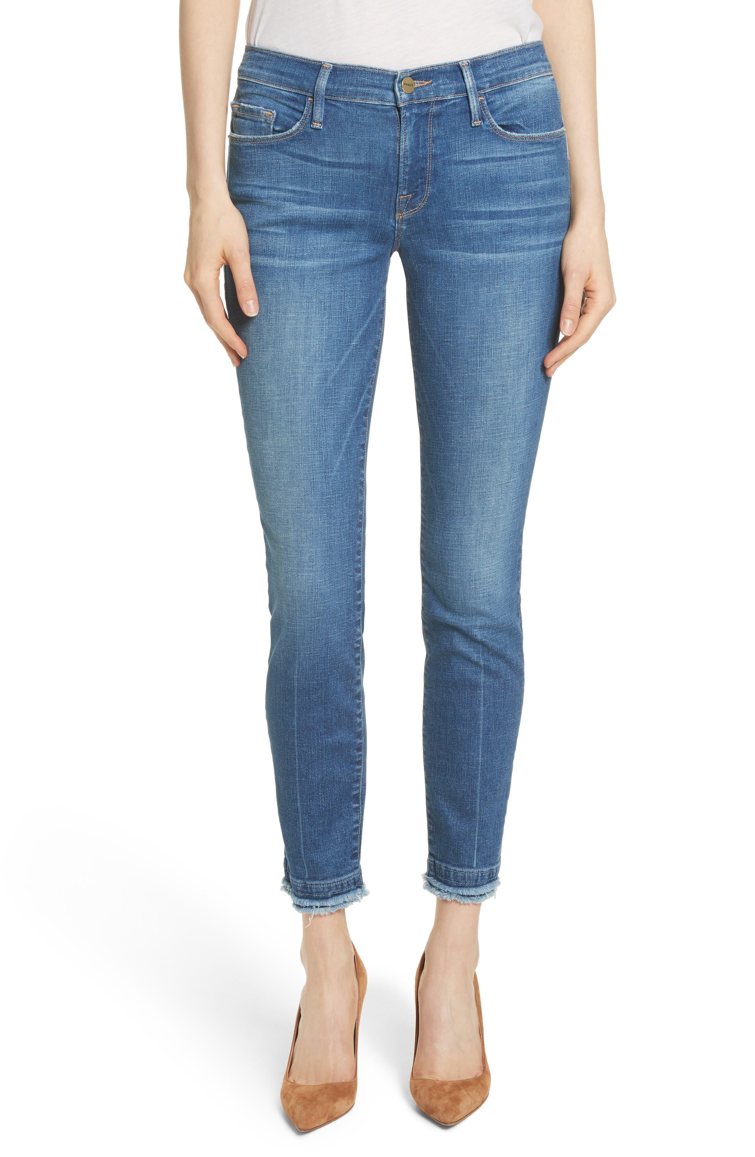 Le Skinny de Jeanne Double Hem Crop Jeans,                             Main thumbnail 1, color,                             420