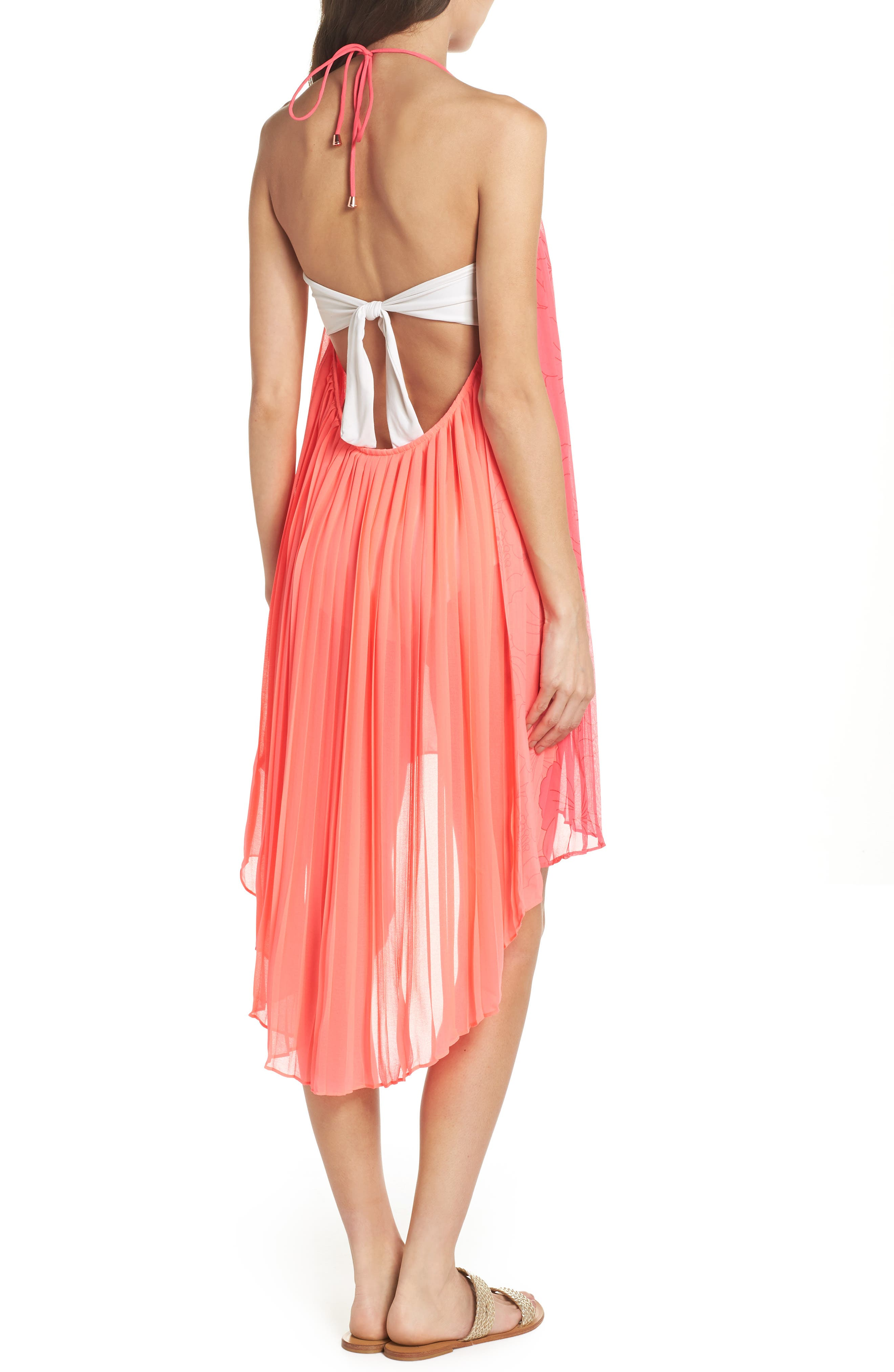 Happiness Pleated Cover-Up,                             Alternate thumbnail 2, color,                             NEON PINK