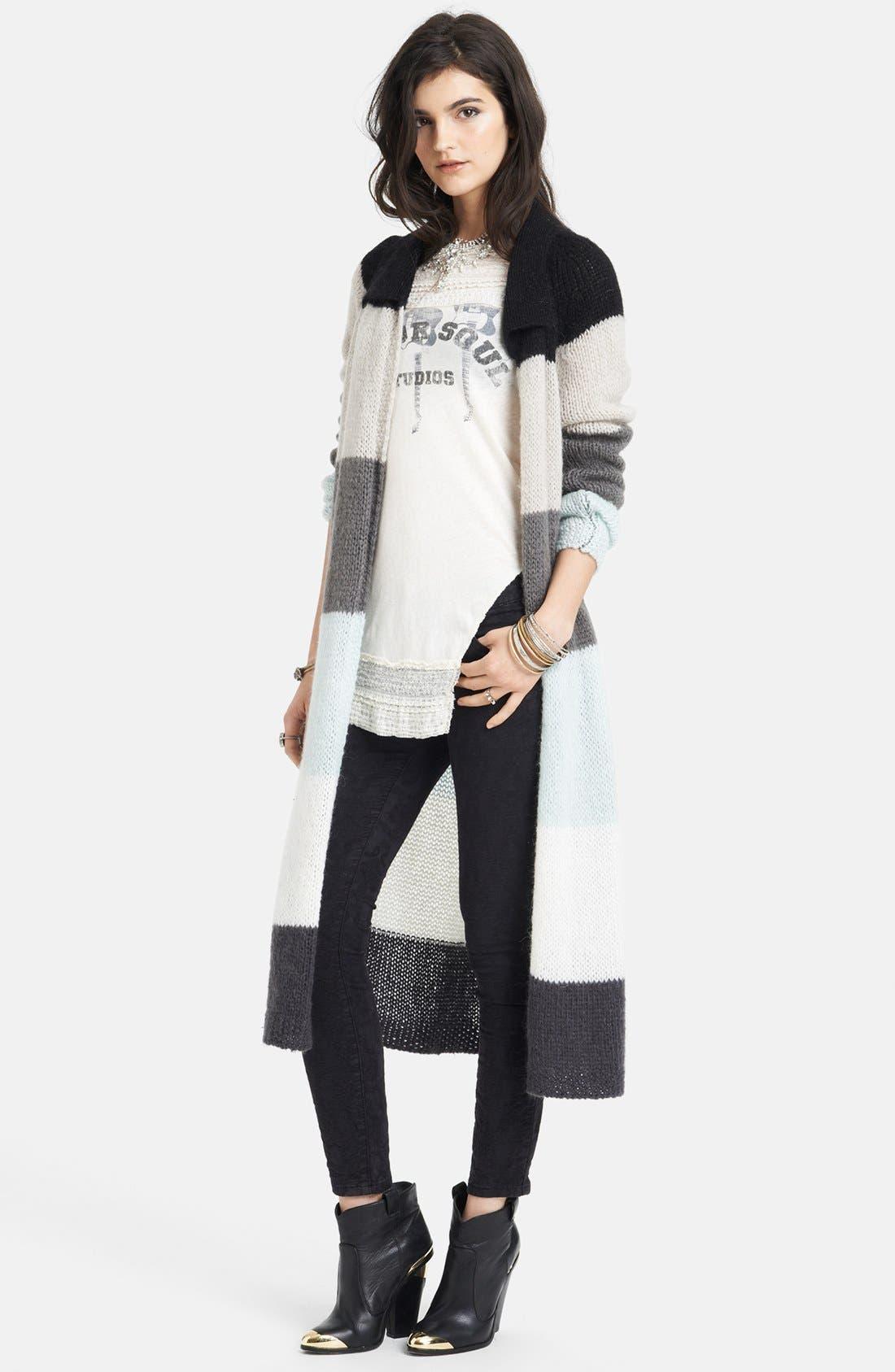FREE PEOPLE Stripe Long Cardigan, Main, color, 110