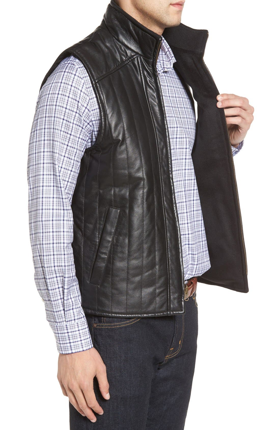 Puffy Leather & Wool Blend Reversible Vest,                             Alternate thumbnail 3, color,                             001
