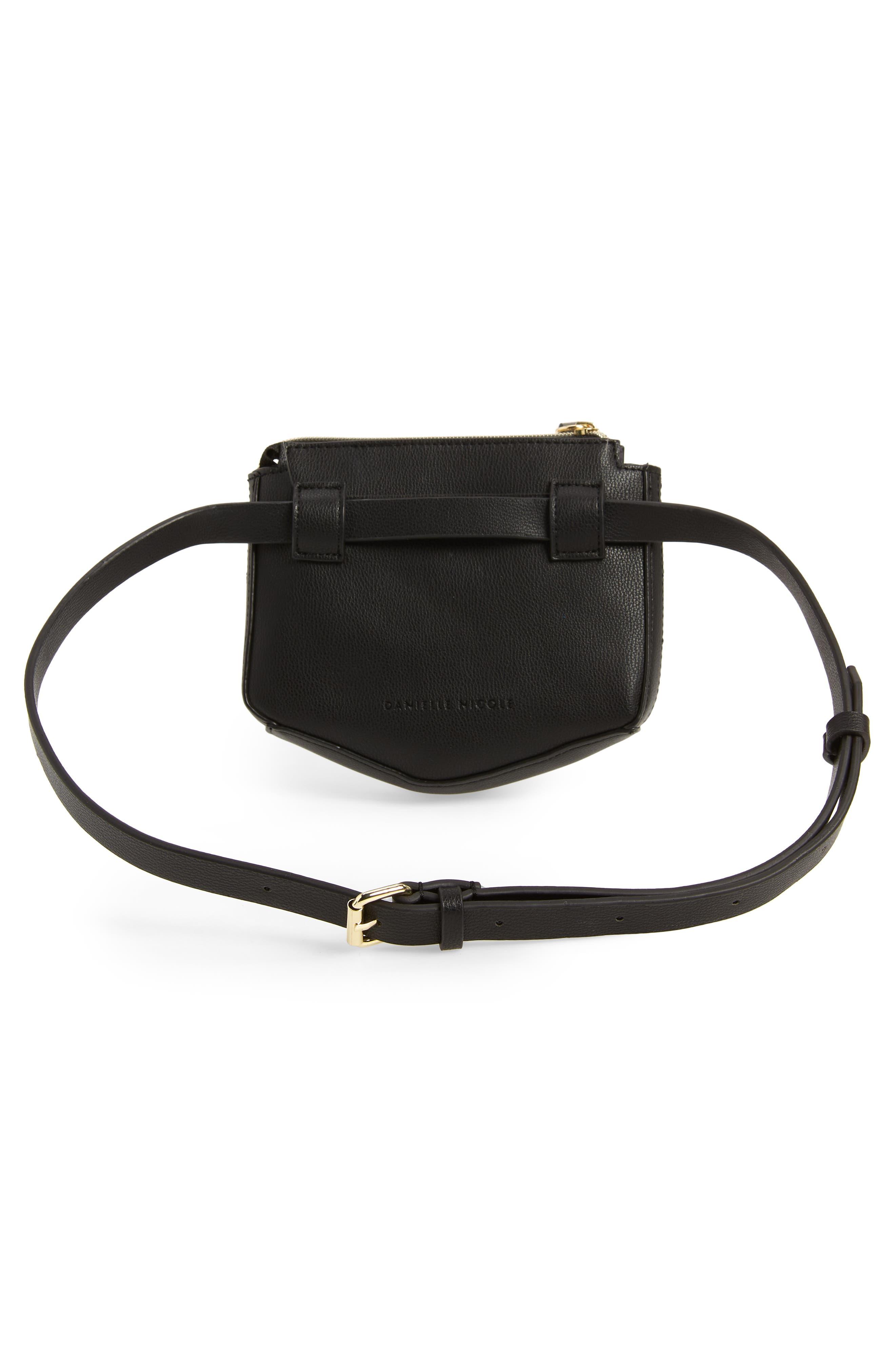 Elia Faux Leather Belt Bag,                             Alternate thumbnail 4, color,                             BLACK