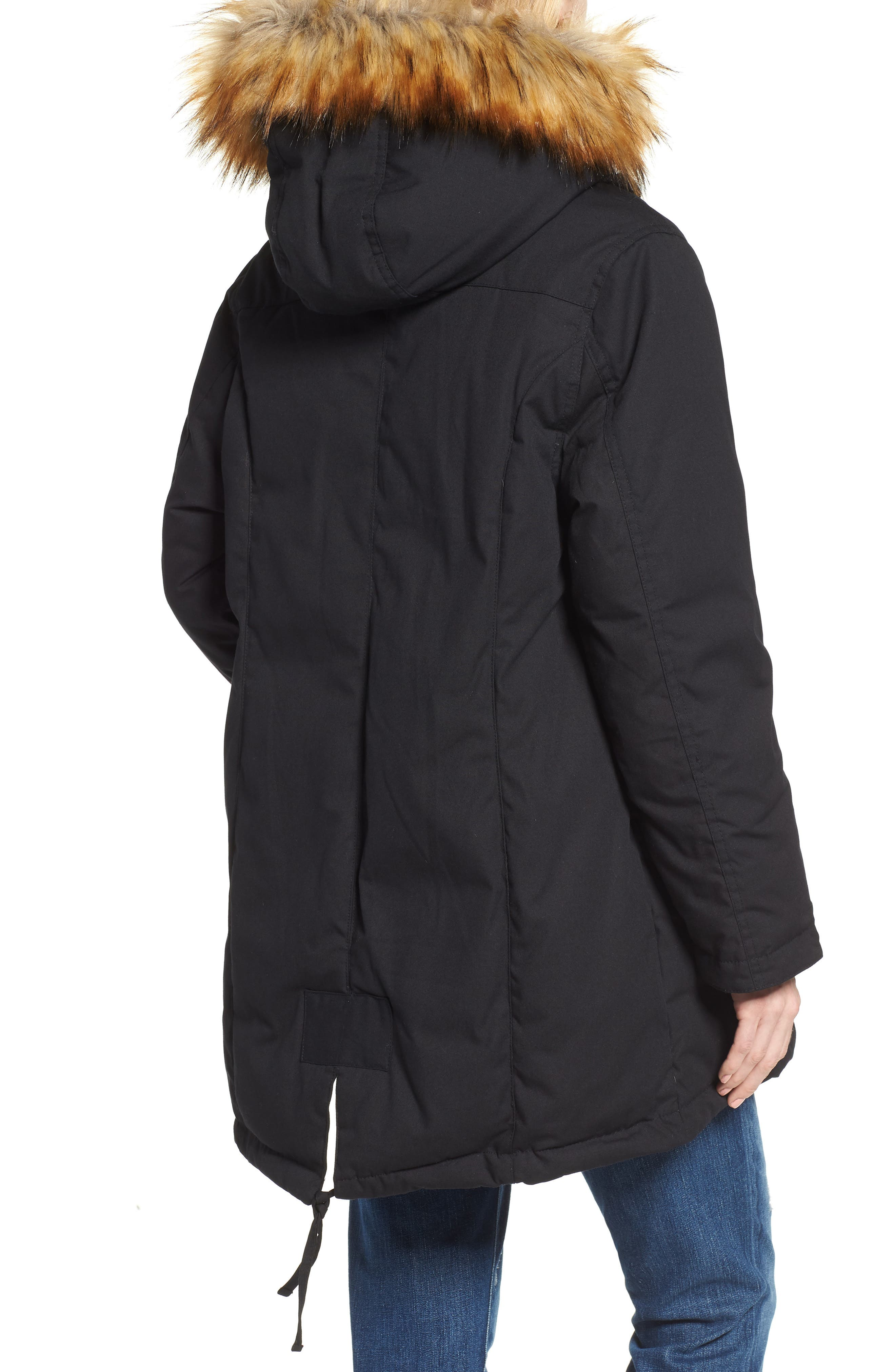 Convertible Down 3-in-1 Maternity Jacket,                             Alternate thumbnail 3, color,                             BLACK