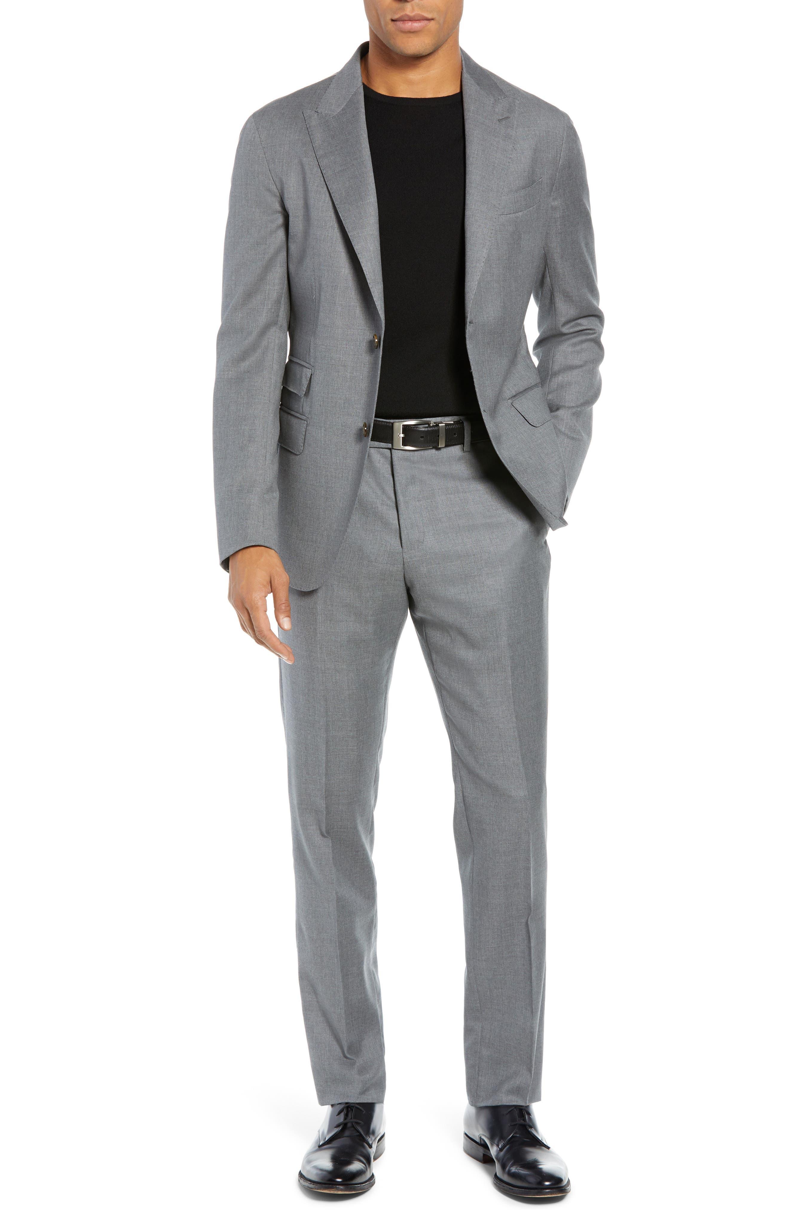 Trim Fit Wool Suit,                         Main,                         color, LIGHT GREY