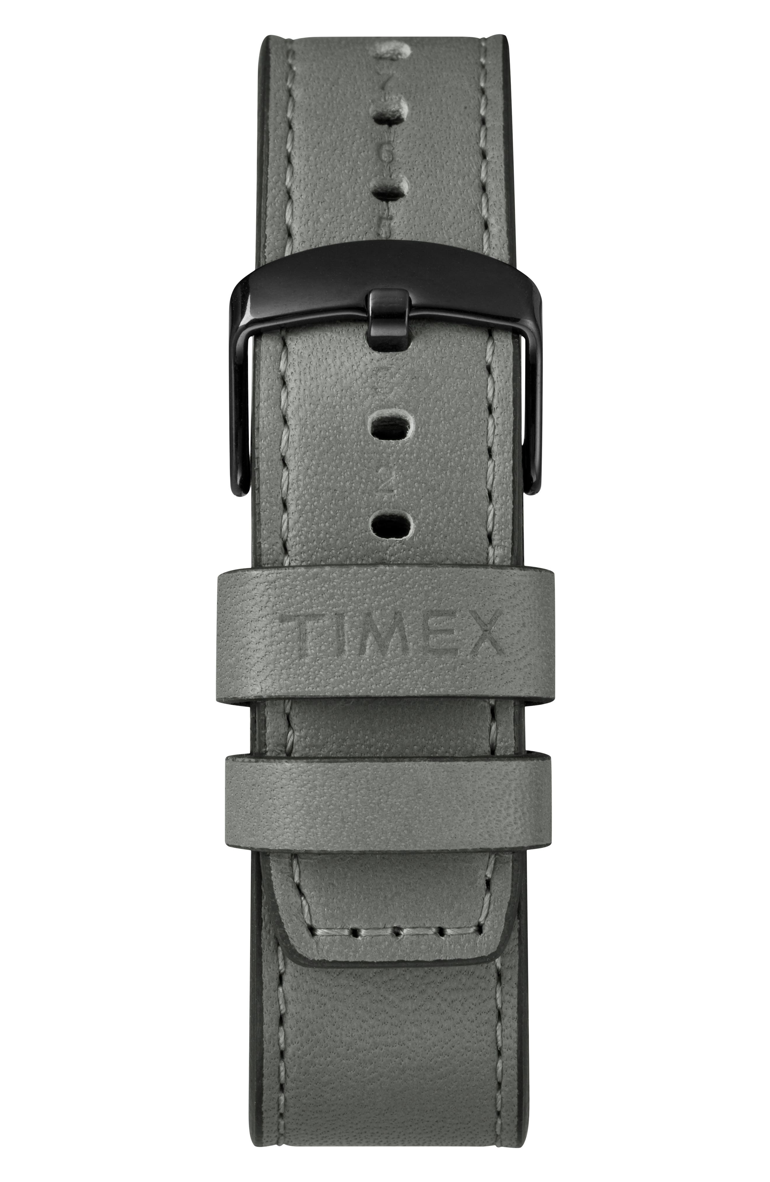 Timex<sup>®</sup> x Todd Snyder The Military Chronograph Leather Strap Watch Set, 43mm,                             Alternate thumbnail 3, color,                             GREY/ GREY