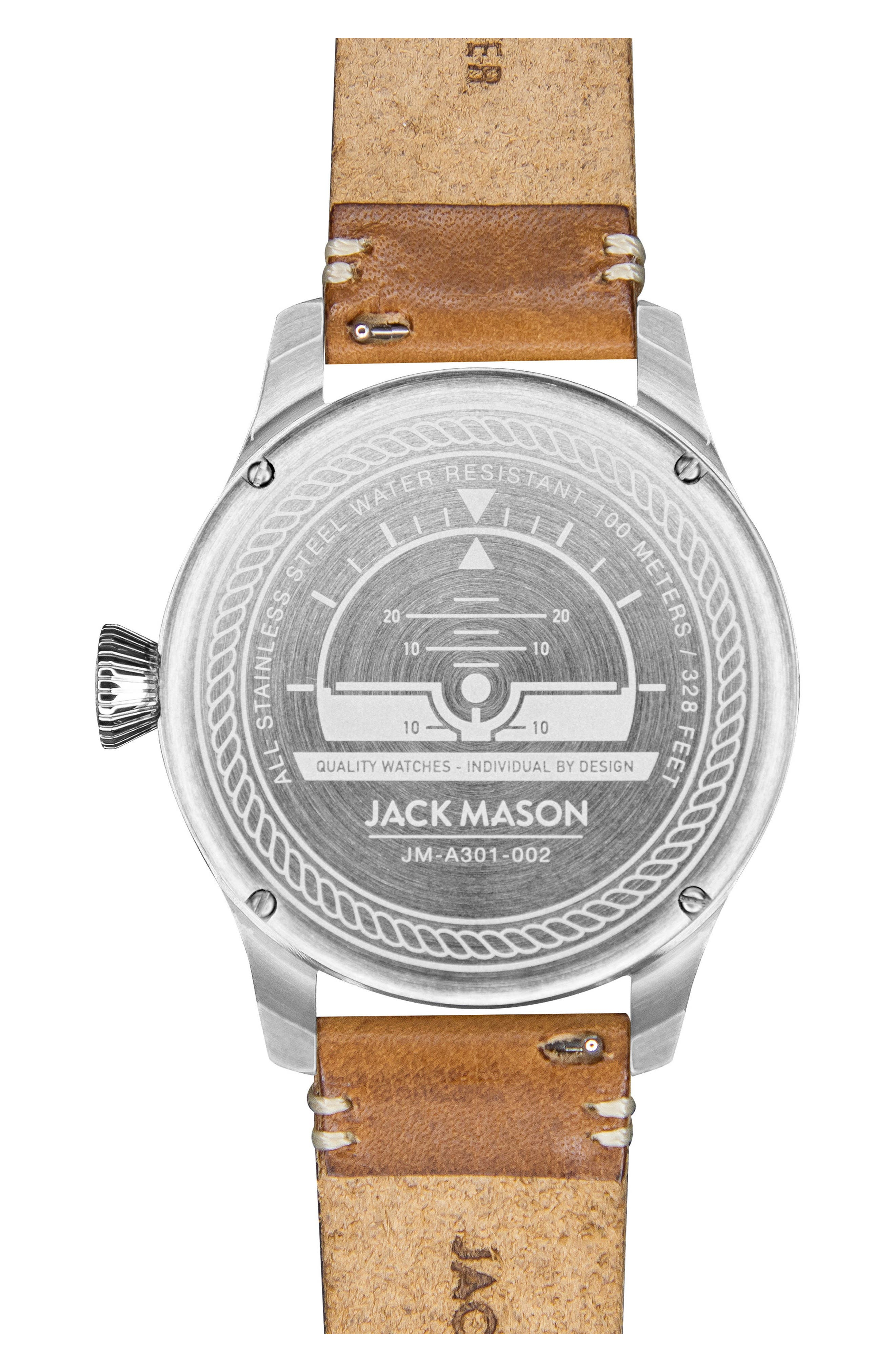 Aviation Leather Strap Watch, 45mm,                             Alternate thumbnail 4, color,