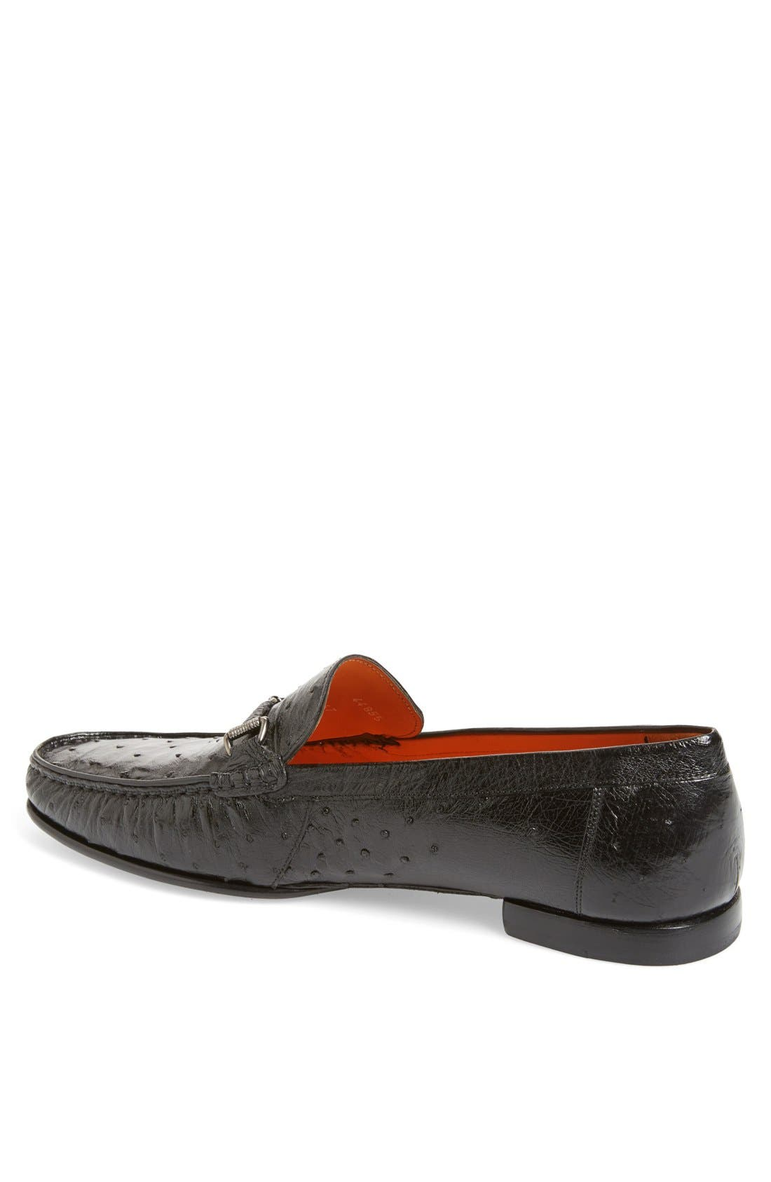 'Vittorio' Ostrich Leather Bit Loafer,                             Alternate thumbnail 2, color,                             BLACK