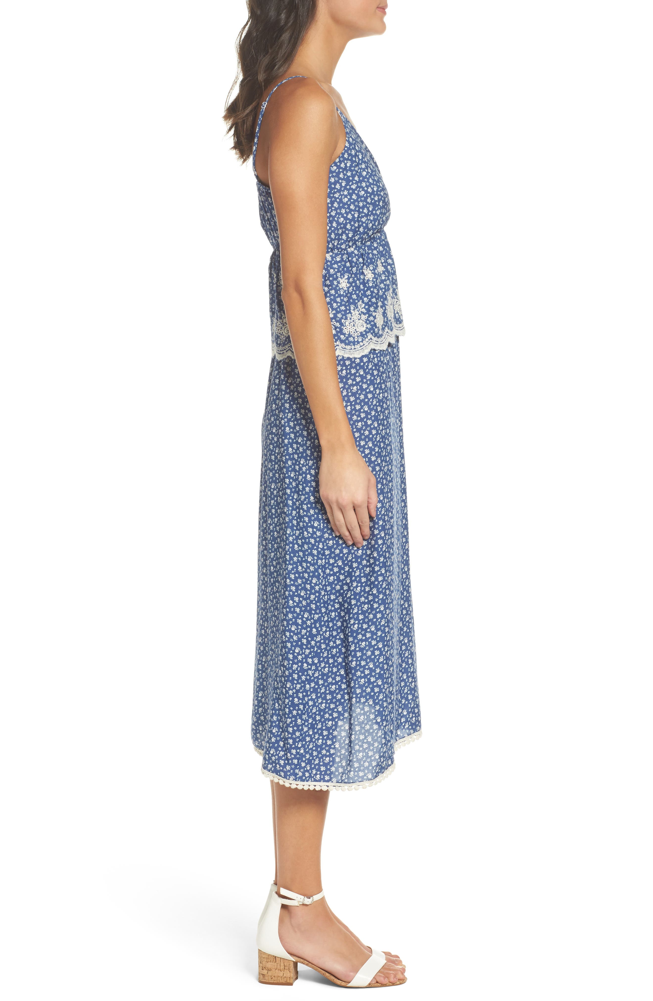 Embroidered Midi Dress,                             Alternate thumbnail 3, color,                             418