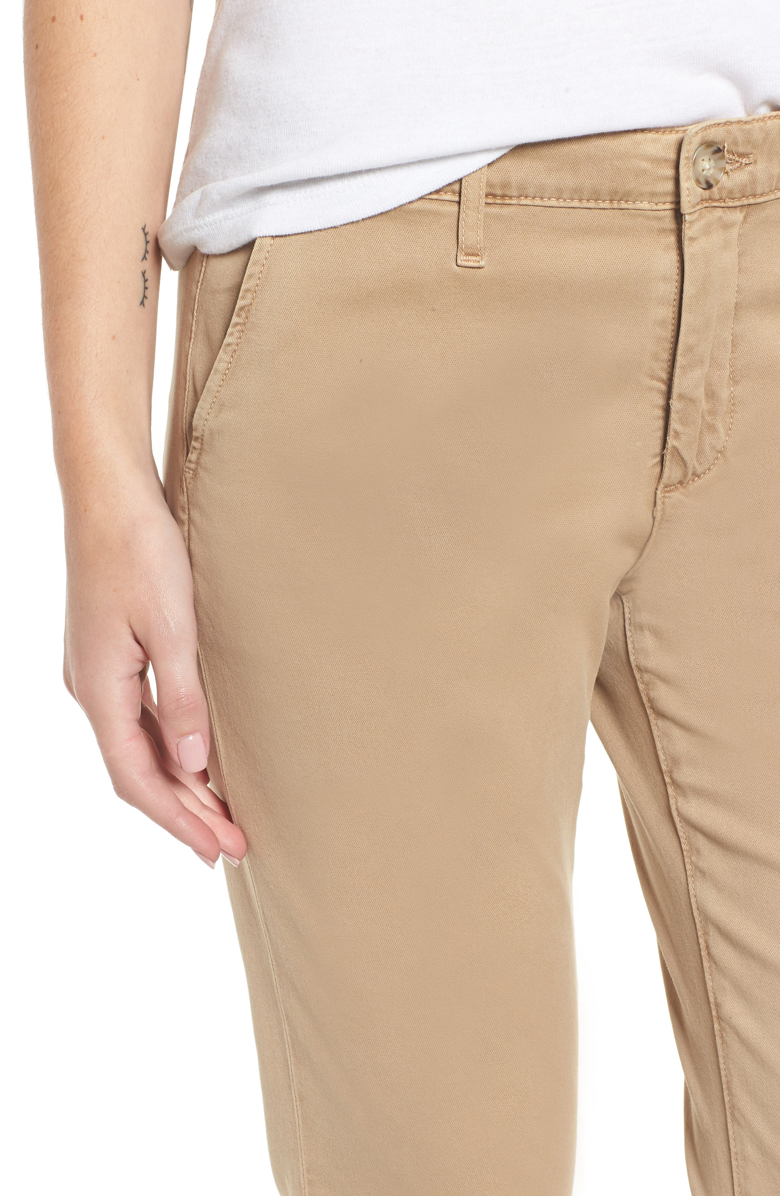 Caden Crop Twill Trousers,                             Alternate thumbnail 4, color,                             SULFUR TOASTED