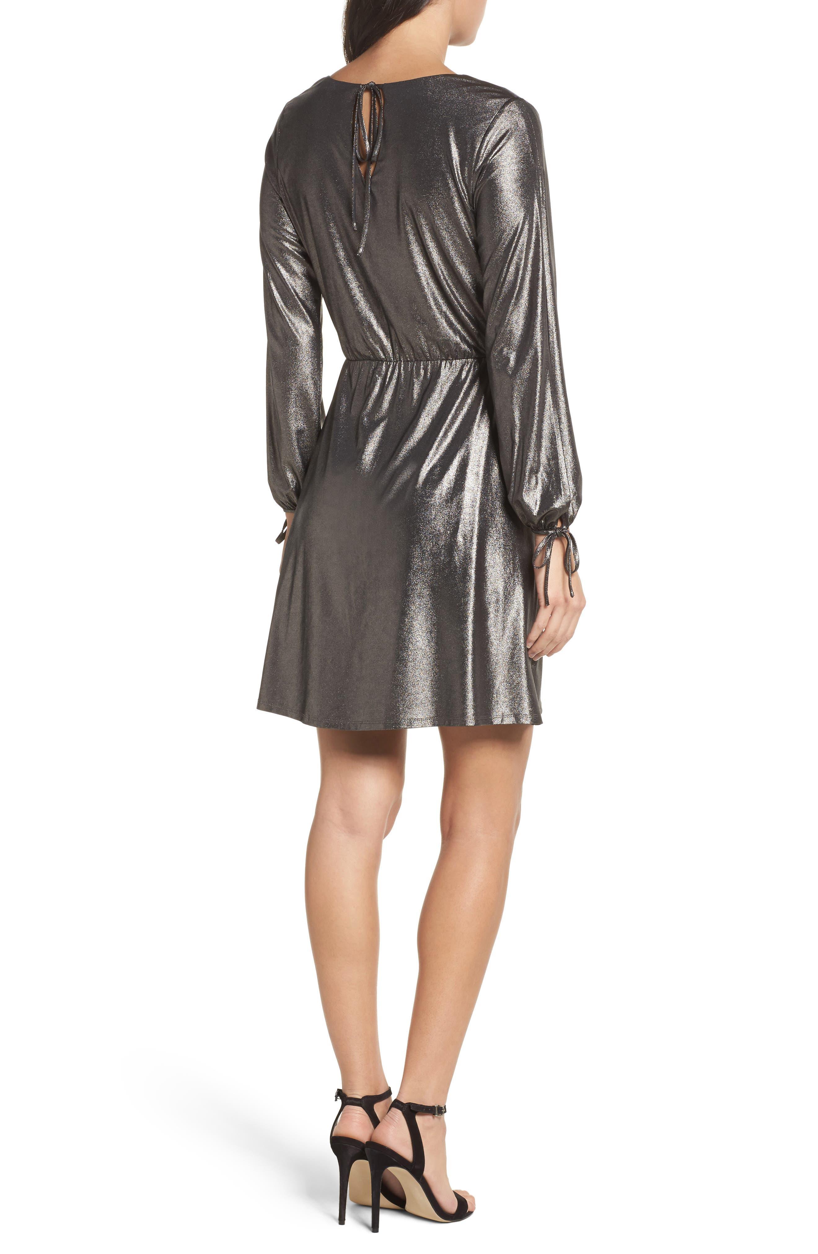 Metallic Faux Wrap Dress,                             Alternate thumbnail 2, color,                             048