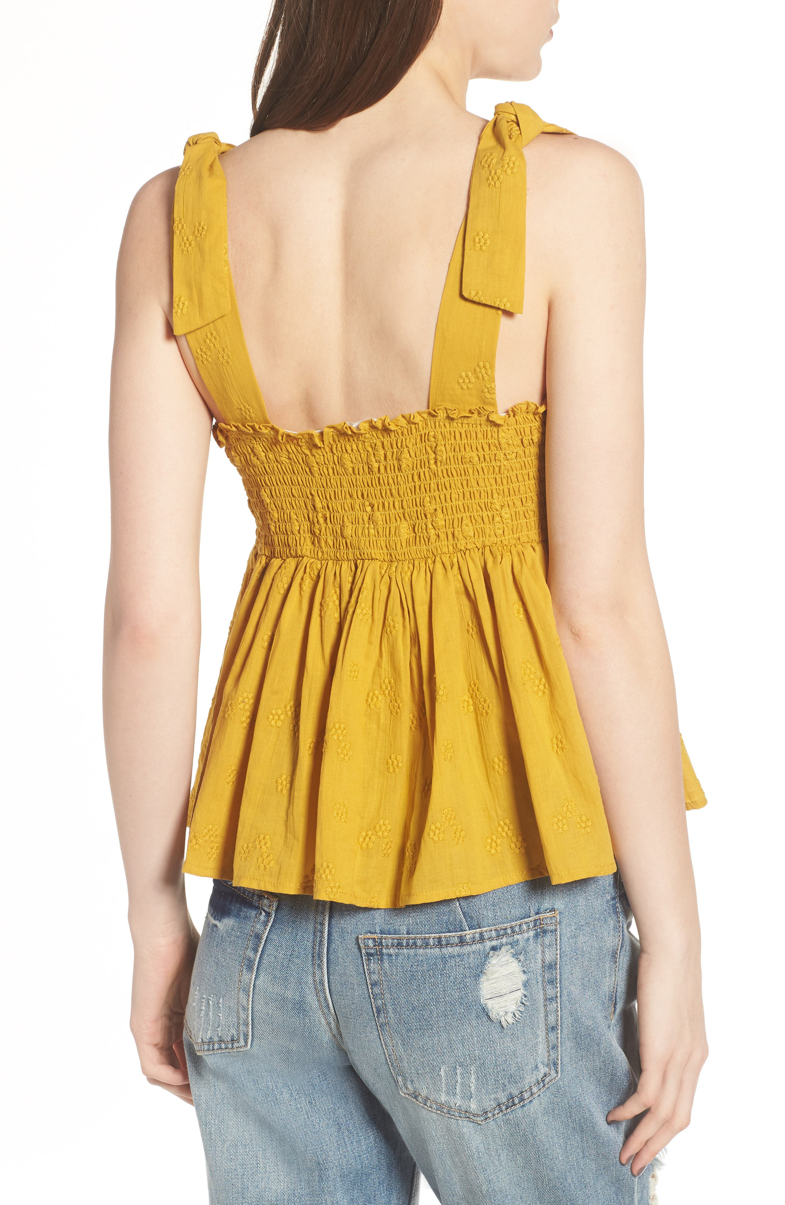 Embroidered Peplum Tank,                             Alternate thumbnail 6, color,