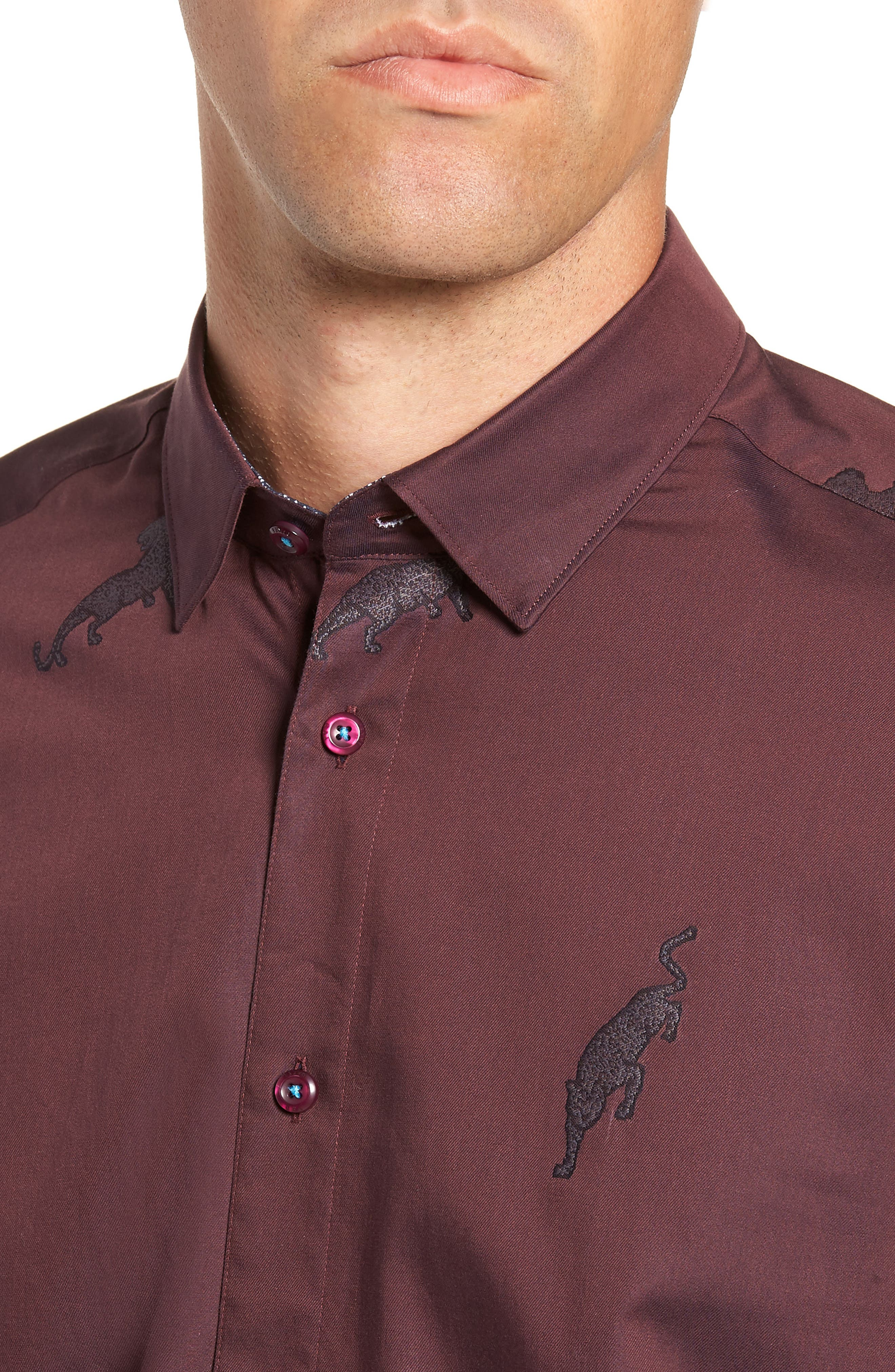 Bean Modern Fit Print Dress Shirt,                             Alternate thumbnail 2, color,                             DARK RED