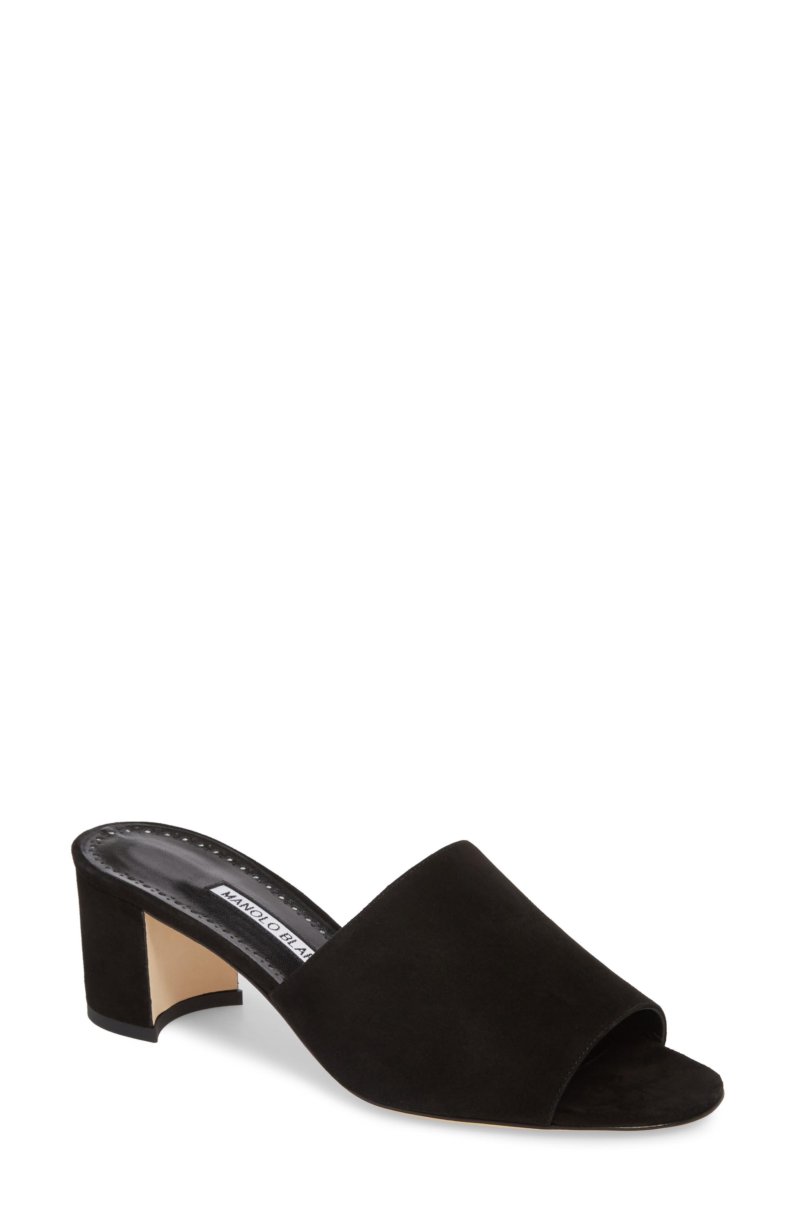 MANOLO BLAHNIK,                             Rapallato Slide Sandal,                             Main thumbnail 1, color,                             001