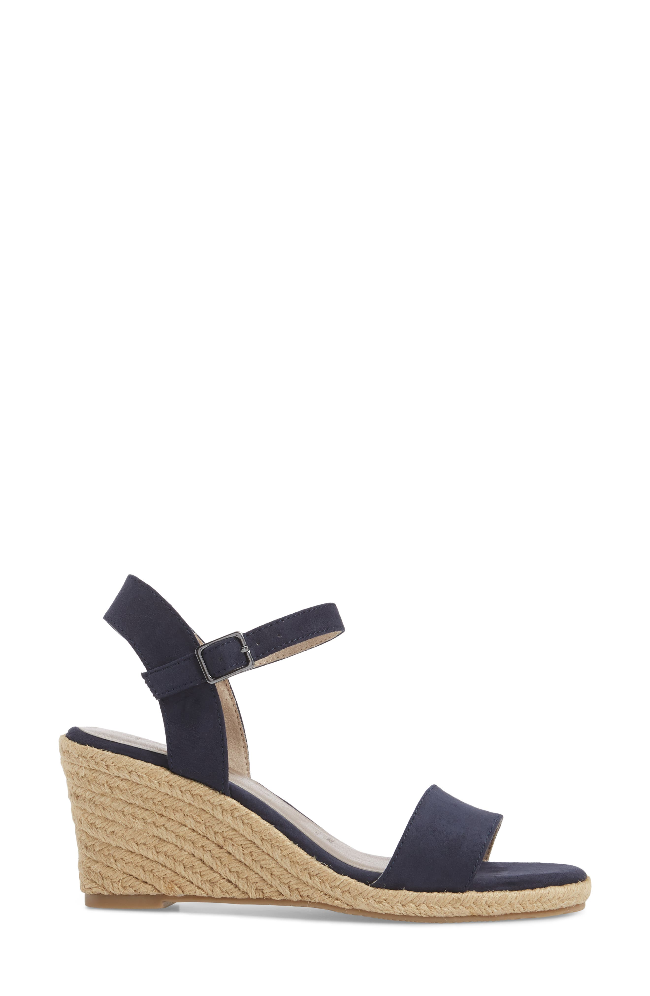 Livia Espadrille Wedge Sandal,                             Alternate thumbnail 3, color,                             NAVY FABRIC