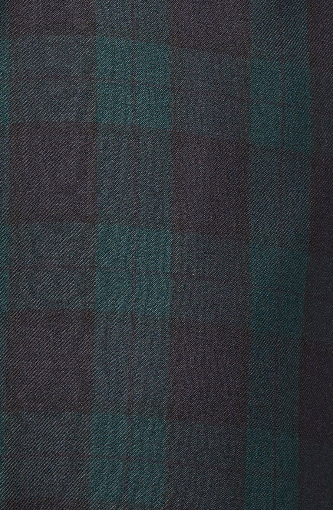 Flat Front Plaid Wool Trousers,                             Alternate thumbnail 2, color,                             GREEN