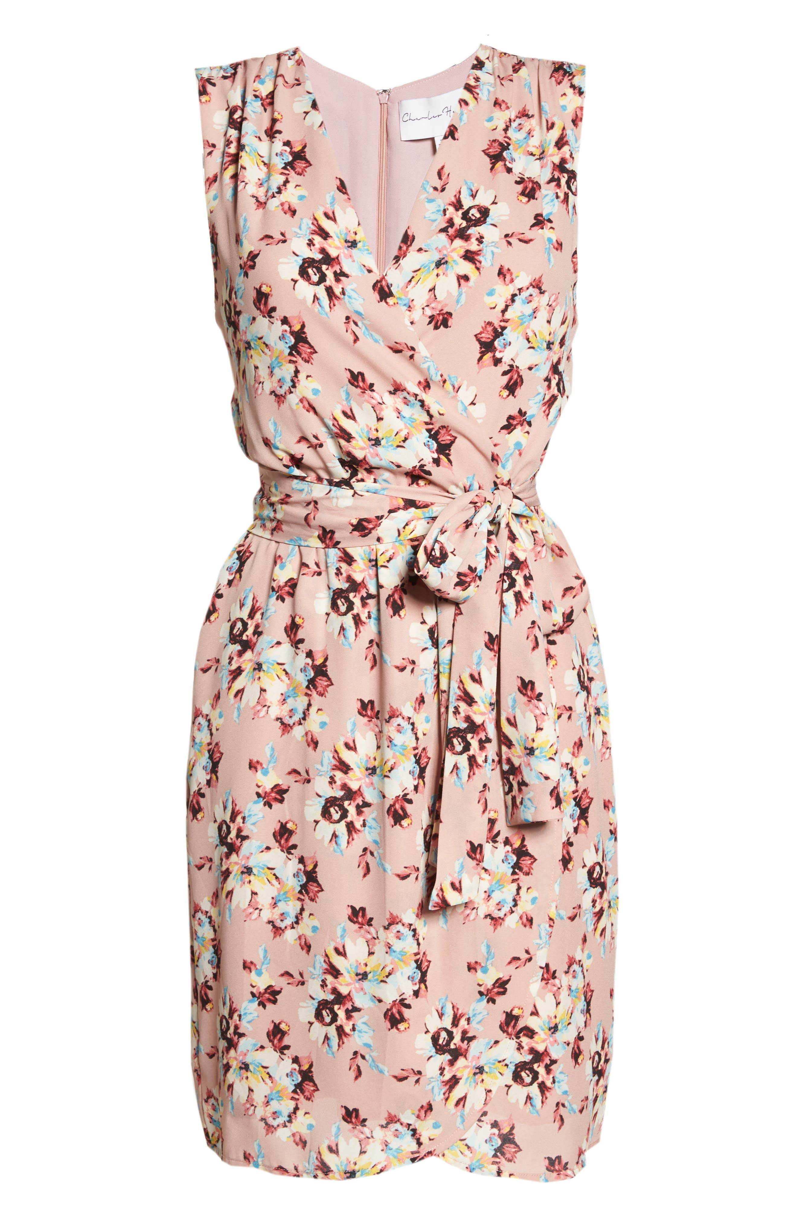 Floral Faux Wrap Dress,                             Alternate thumbnail 7, color,                             657