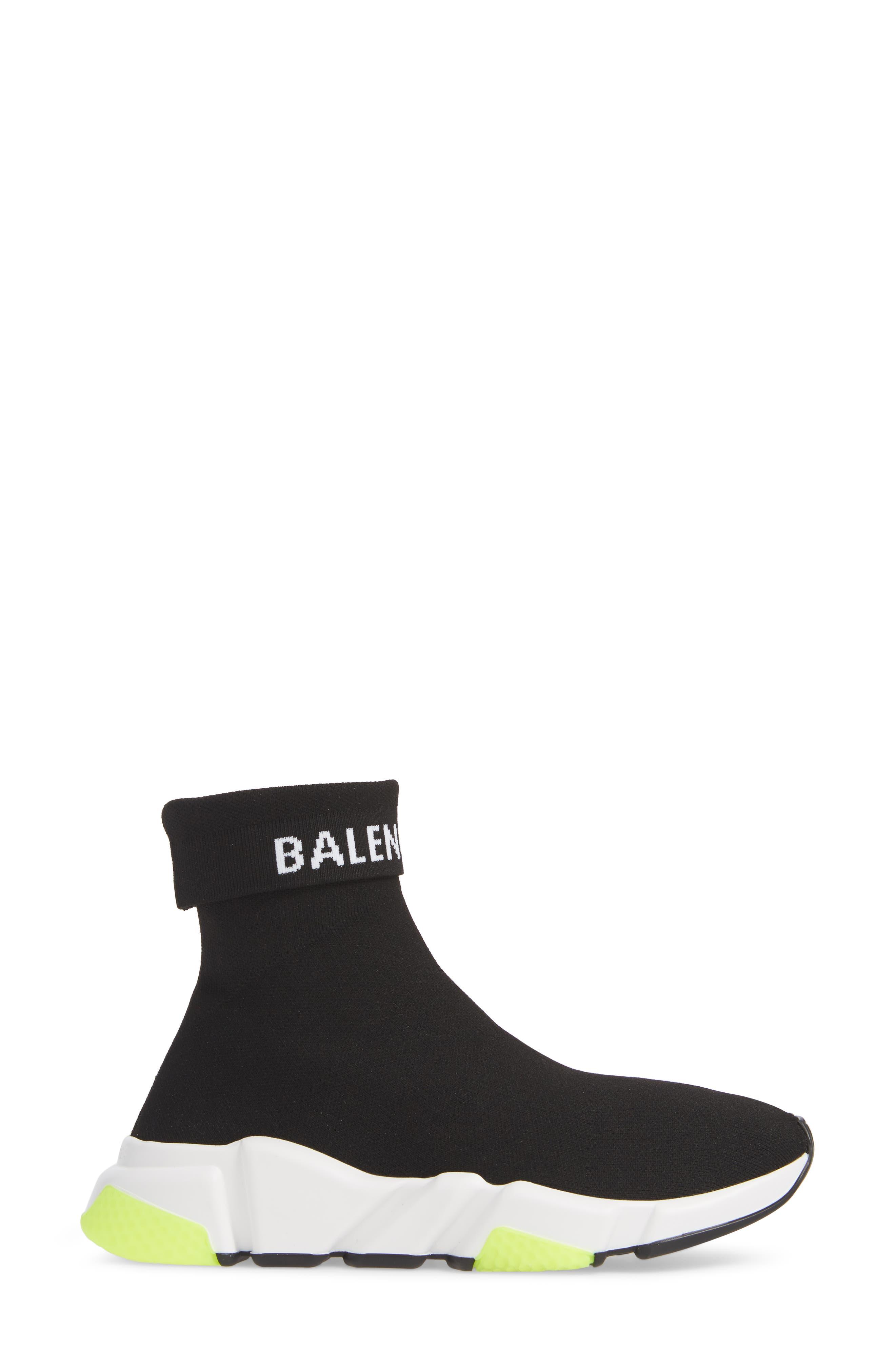 Hi Speed Logo Sock Sneaker,                             Alternate thumbnail 3, color,                             BLACK/ WHITE/ NEON