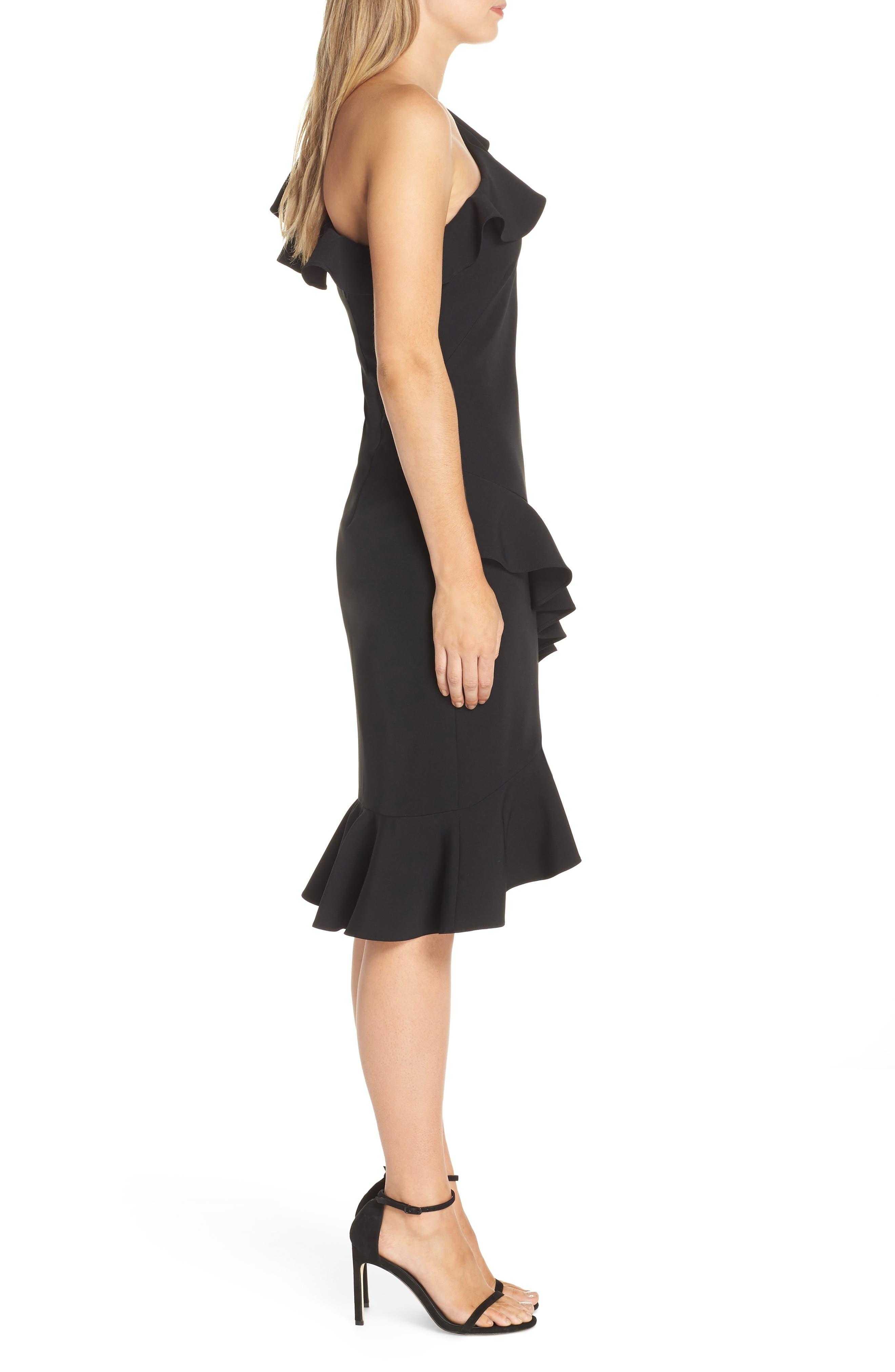 One-Shoulder Ruffle Dress,                             Alternate thumbnail 3, color,                             BLACK