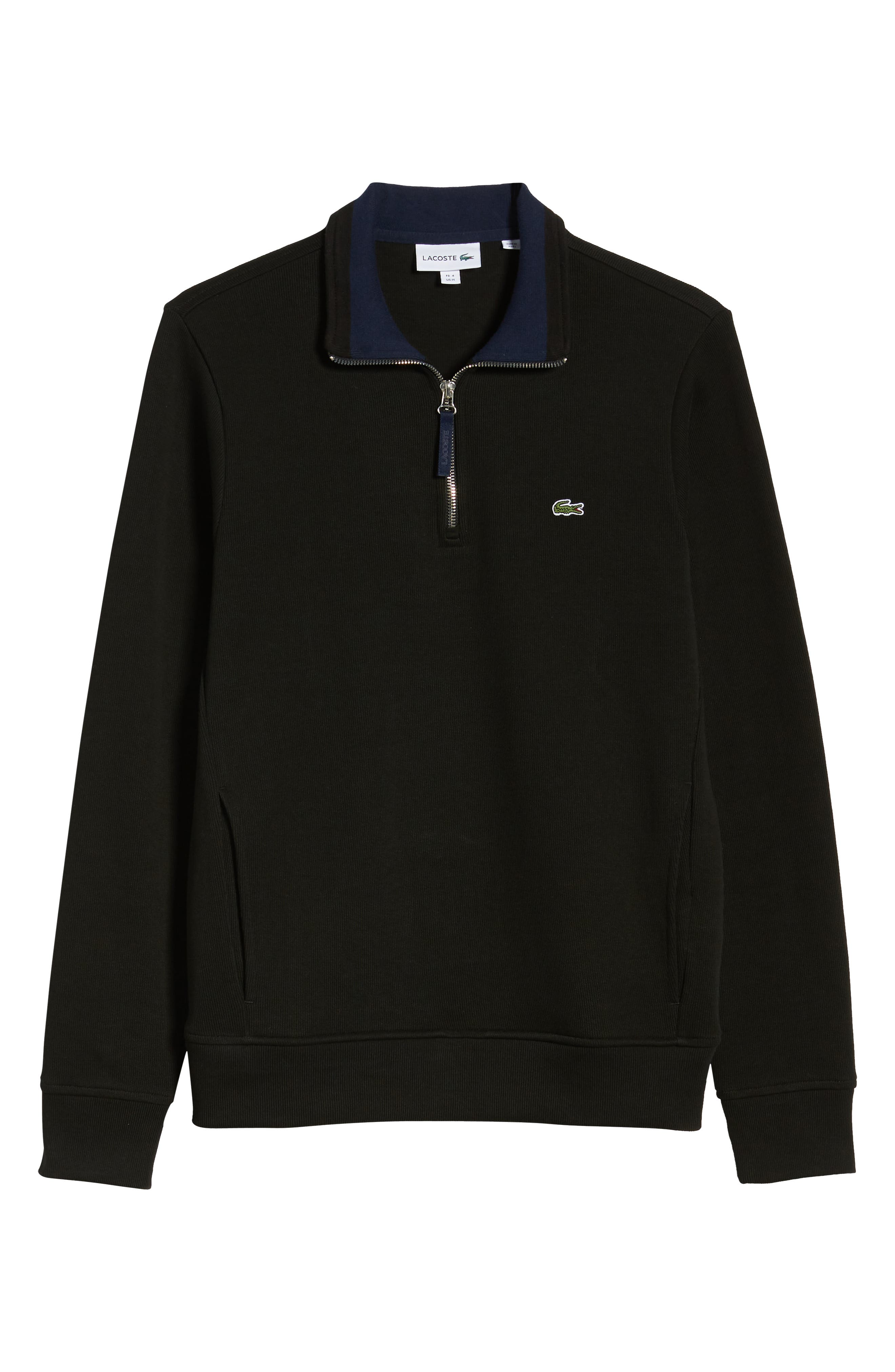 LACOSTE,                             Quarter Zip Pullover,                             Alternate thumbnail 6, color,                             BLACK/ NAVY BLUE