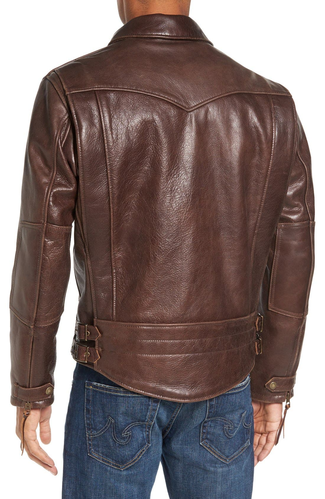 Antique Vintage Style Leather Moto Jacket,                             Alternate thumbnail 2, color,                             200