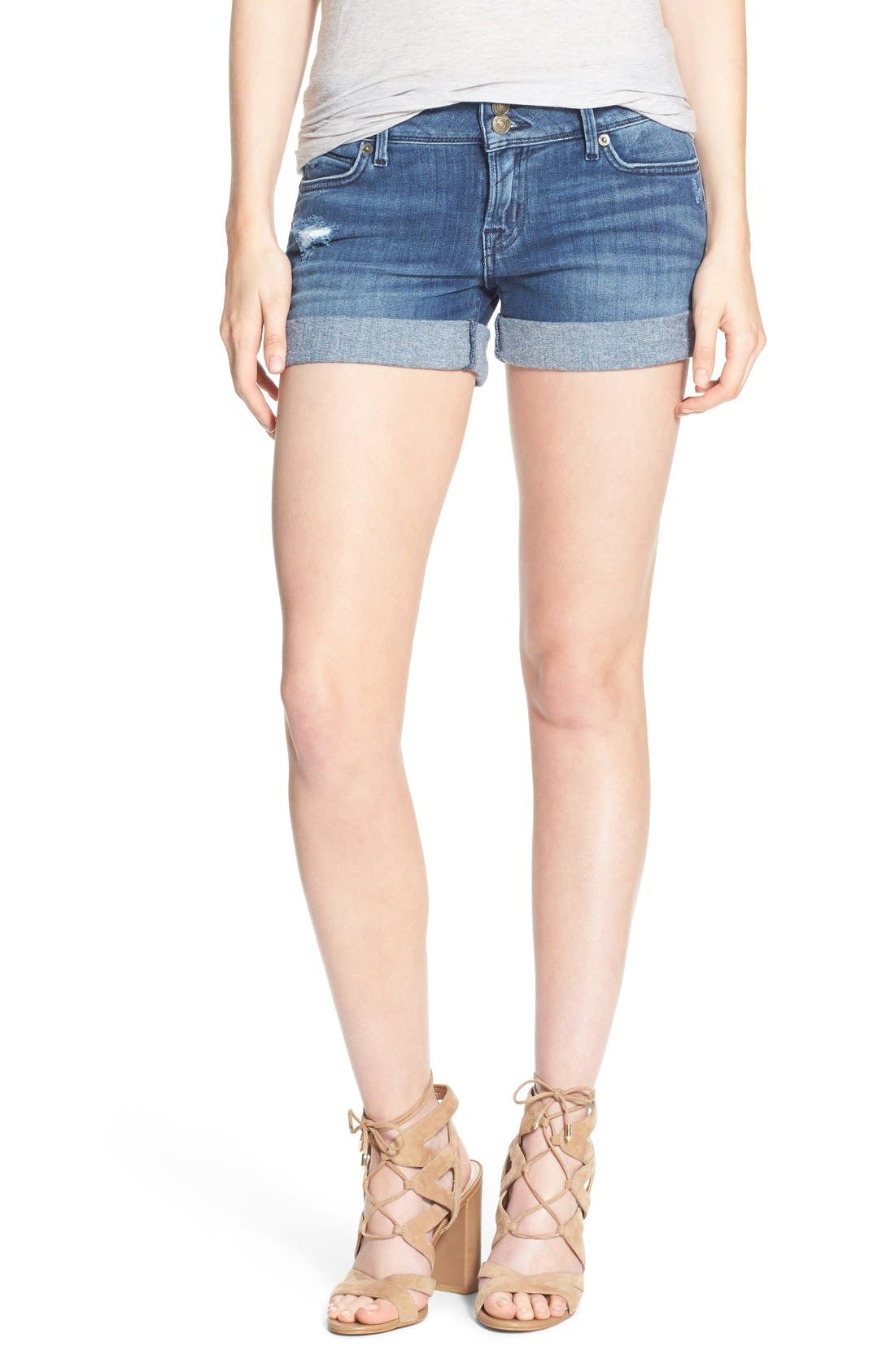 'Croxley' Cuffed Denim Shorts,                             Main thumbnail 4, color,