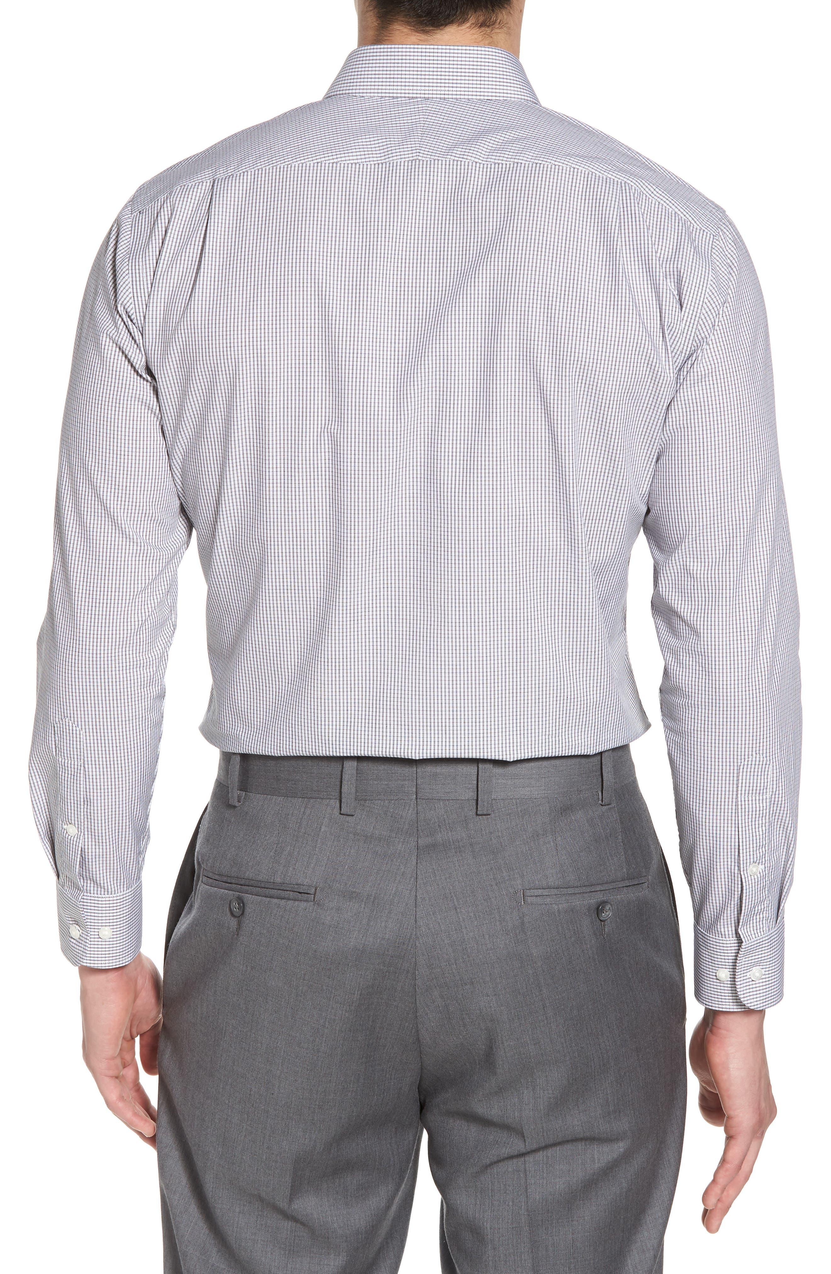 Trim Fit Non-Iron Check Dress Shirt,                             Alternate thumbnail 3, color,                             001