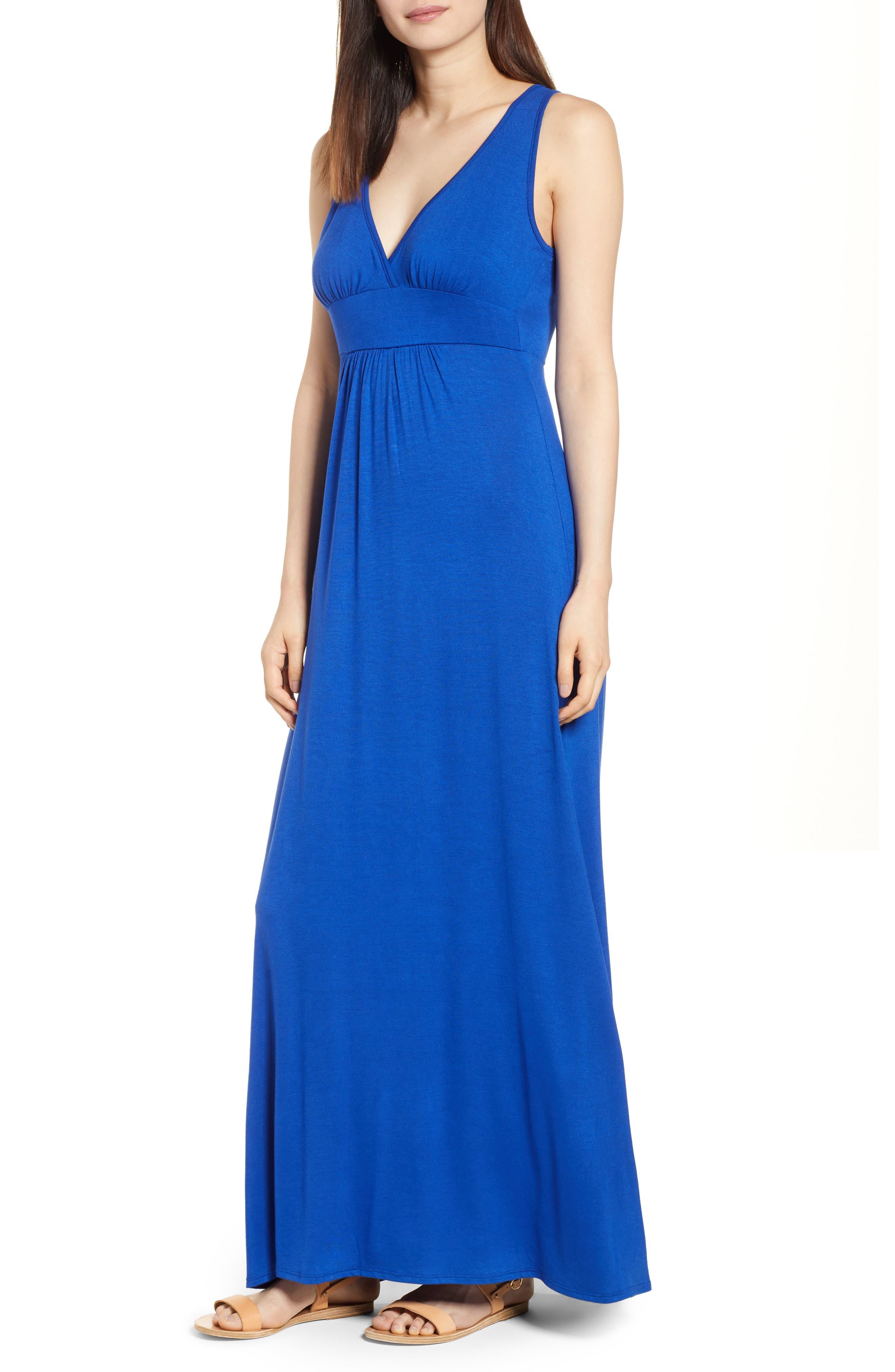 Loveappella V-Neck Jersey Maxi Dress, Blue