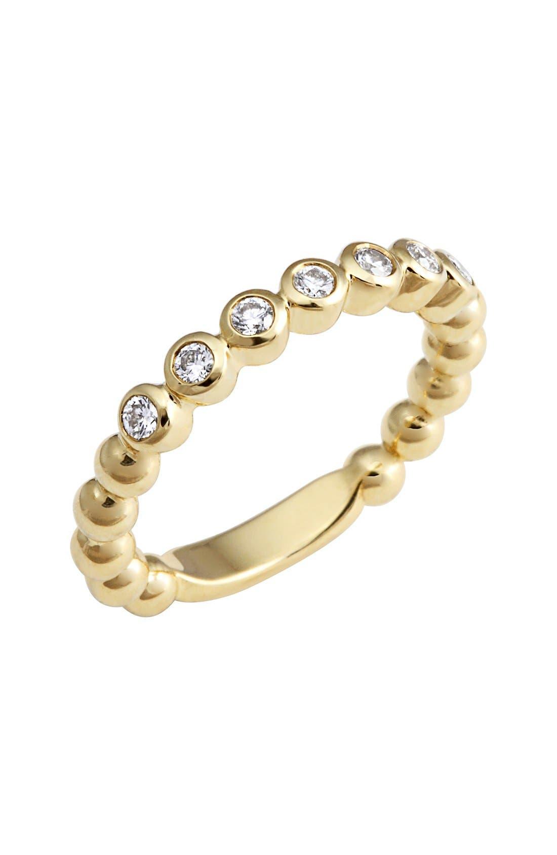 Covet Stone Caviar Stack Ring,                             Main thumbnail 1, color,                             GOLD/ DIAMOND