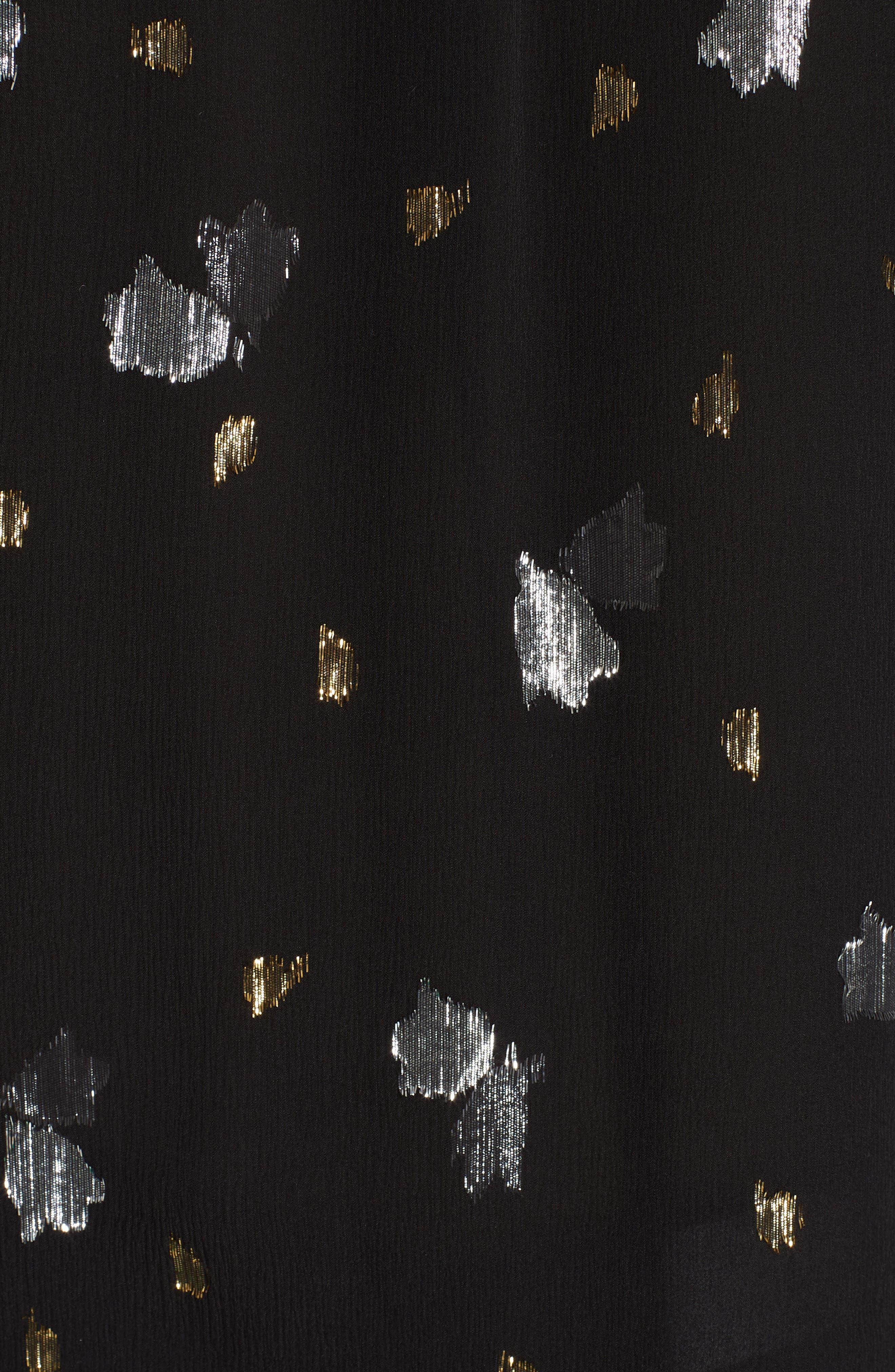 Metallic Silk Chiffon Tulip Top,                             Alternate thumbnail 5, color,                             BLACK
