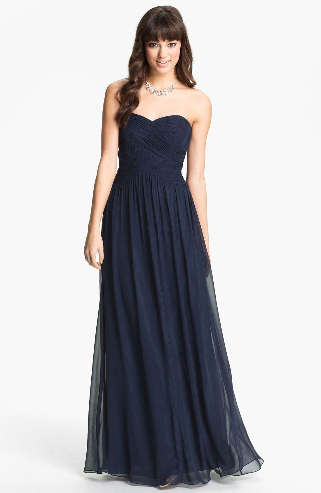 Strapless Ruched Chiffon Gown,                             Main thumbnail 2, color,