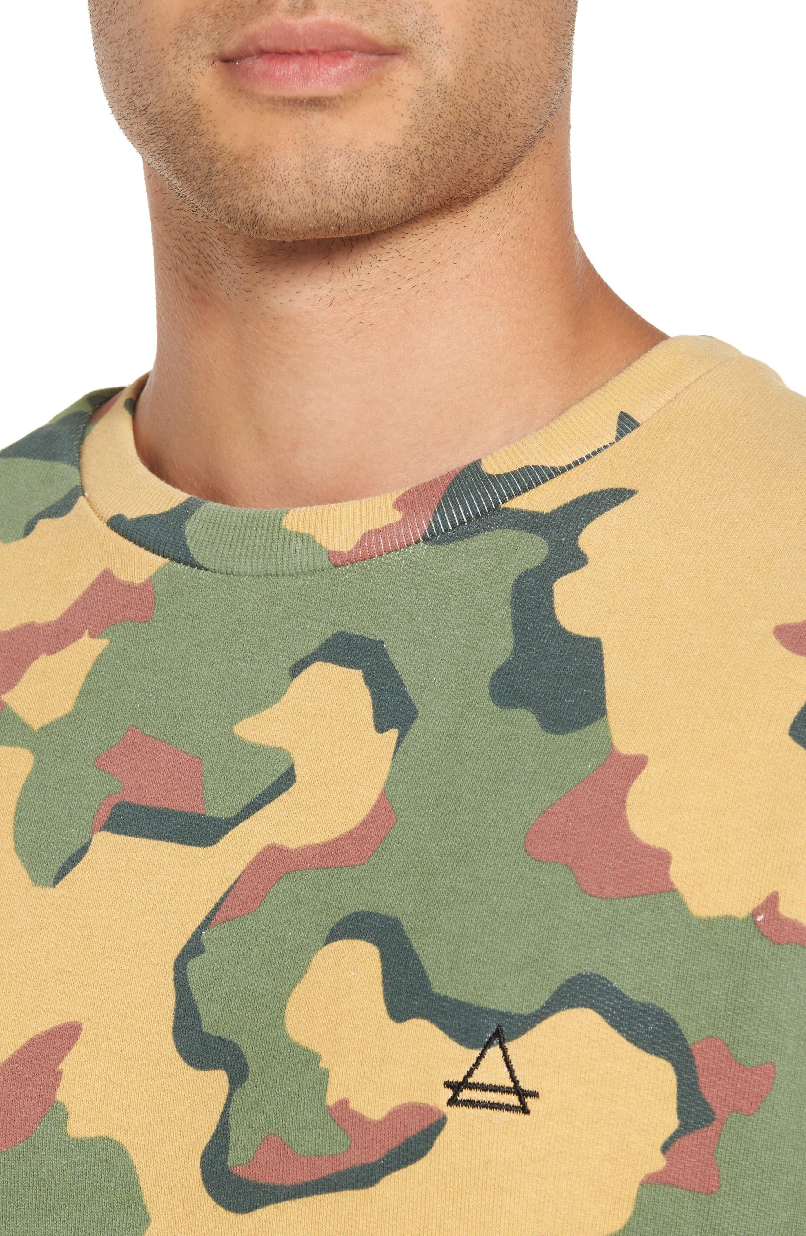 Anatole Camo Fleece Sweatshirt,                             Alternate thumbnail 4, color,