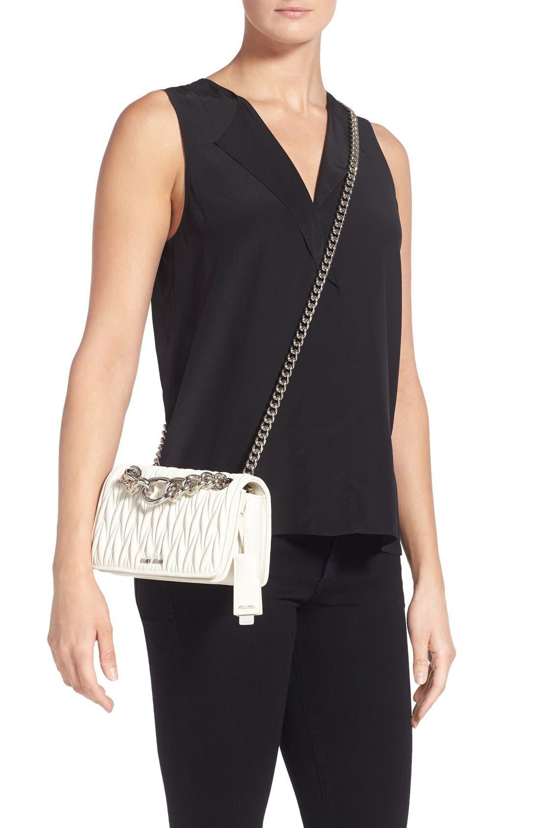 Small Matelassé Leather Shoulder Bag,                             Alternate thumbnail 5, color,