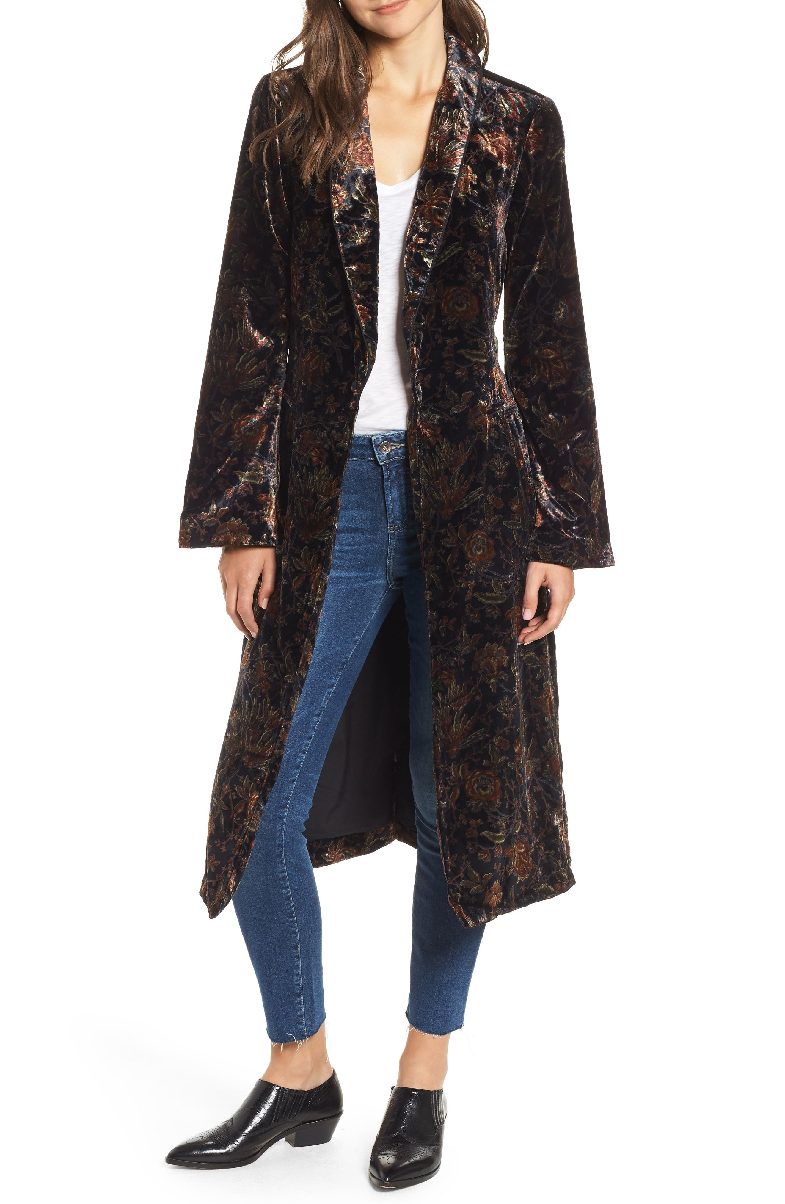 Chrystin Velvet Robe,                             Main thumbnail 1, color,                             BLACK / GOLDEN SKY
